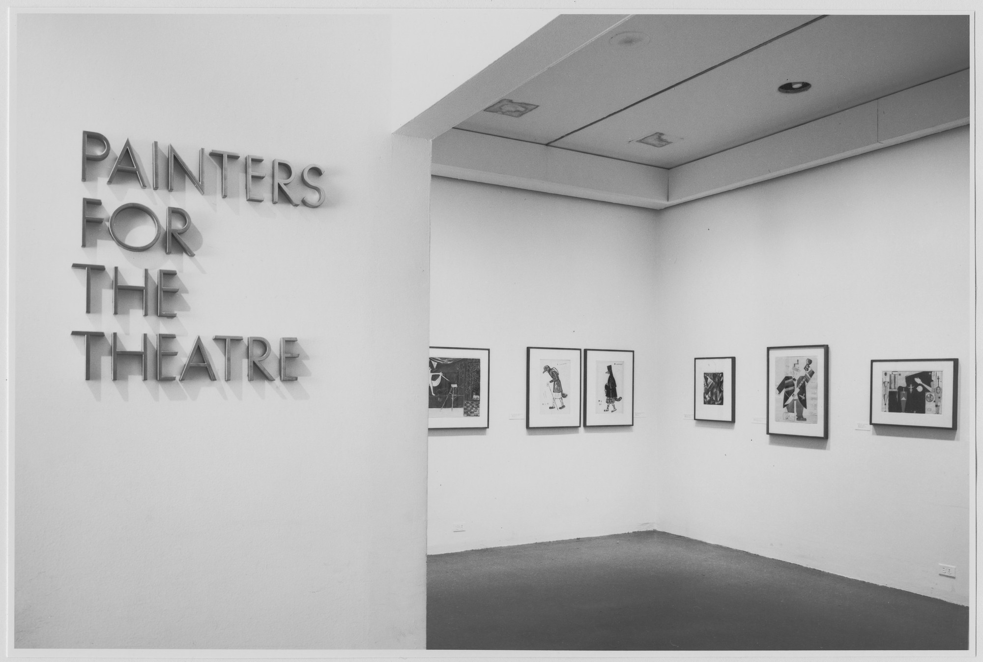"Installation view of the exhibition, ""Painters for the Theatre: An Invitation to the Theatre Art Collection."" November 19, 1973–January 13, 1974. Photographic Archive. The Museum of Modern Art Archives, New York. IN1048.1. Photograph by Katherine Keller."