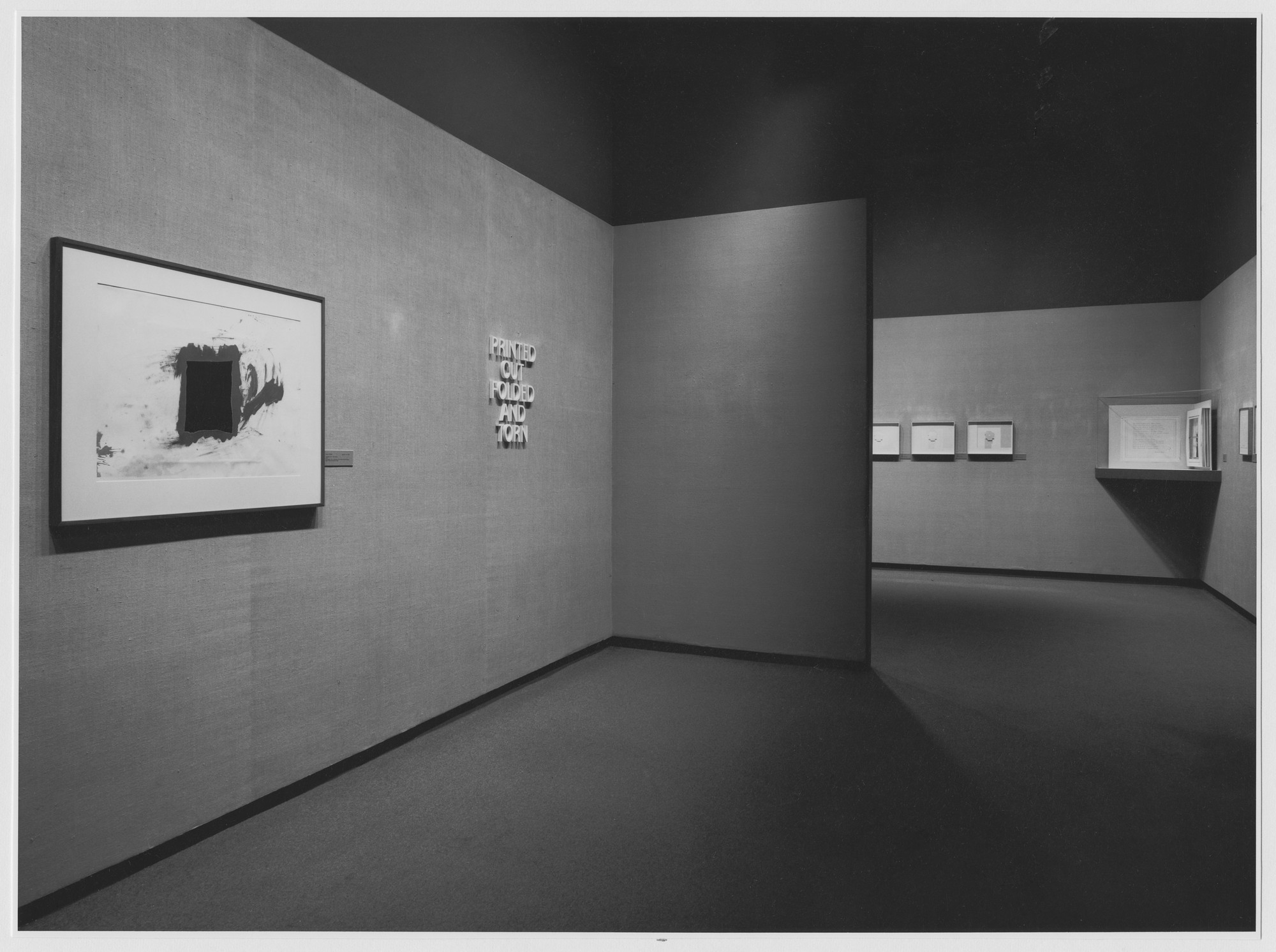 "Installation view of the exhibition, ""Printed, Folded, Cut and Torn."" May 10, 1974–August 11, 1974. Photographic Archive. The Museum of Modern Art Archives, New York. IN1062a.1. Photograph by Katherine Keller."