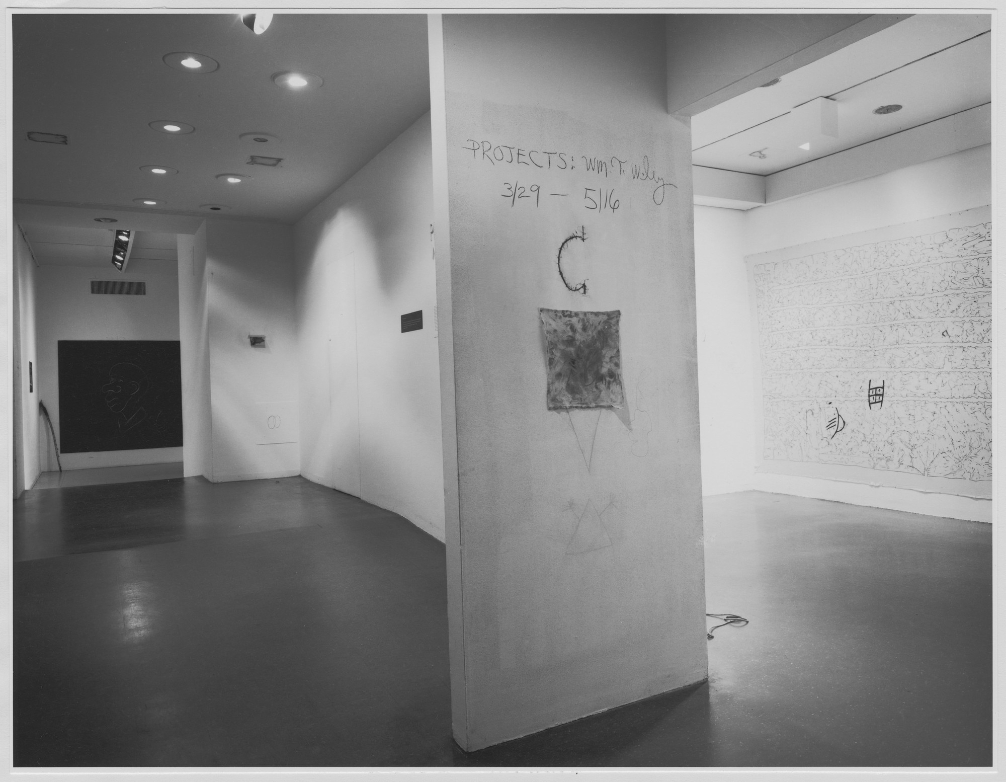 "Installation view of the exhibition, ""Projects: William Wiley."" April 5, 1976–May 16, 1976. Photographic Archive. The Museum of Modern Art Archives, New York. IN1125.1. Photograph by Katherine Keller."