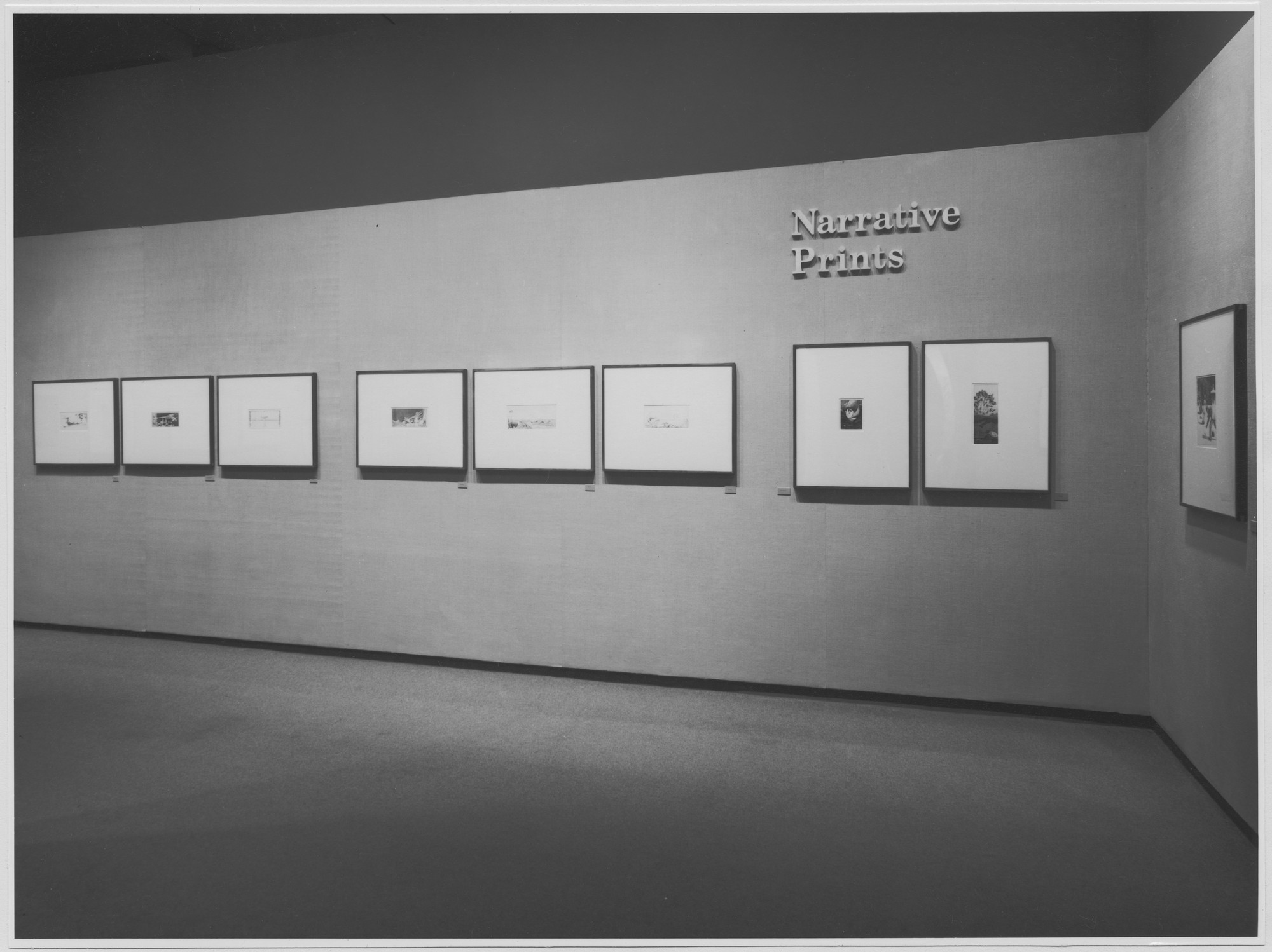 "Installation view of the exhibition, ""Narrative Prints."" May 14, 1976–August 8, 1976. Photographic Archive. The Museum of Modern Art Archives, New York. IN1131.1. Photograph by David Allison."