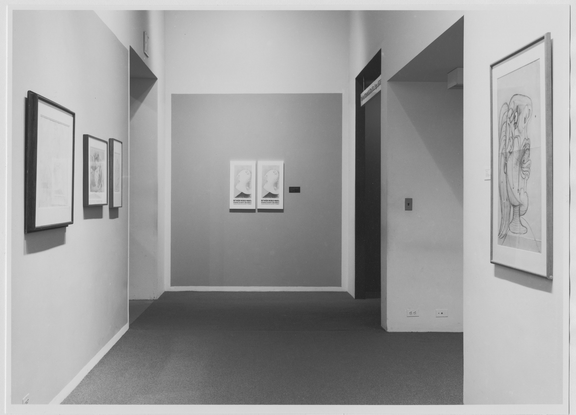 "Installation view of the exhibition, ""Between World Wars: Drawing in Europe and America."" August 20, 1976–November 14, 1976. Photographic Archive. The Museum of Modern Art Archives, New York. IN1143.1. Photograph by Katherine Keller."