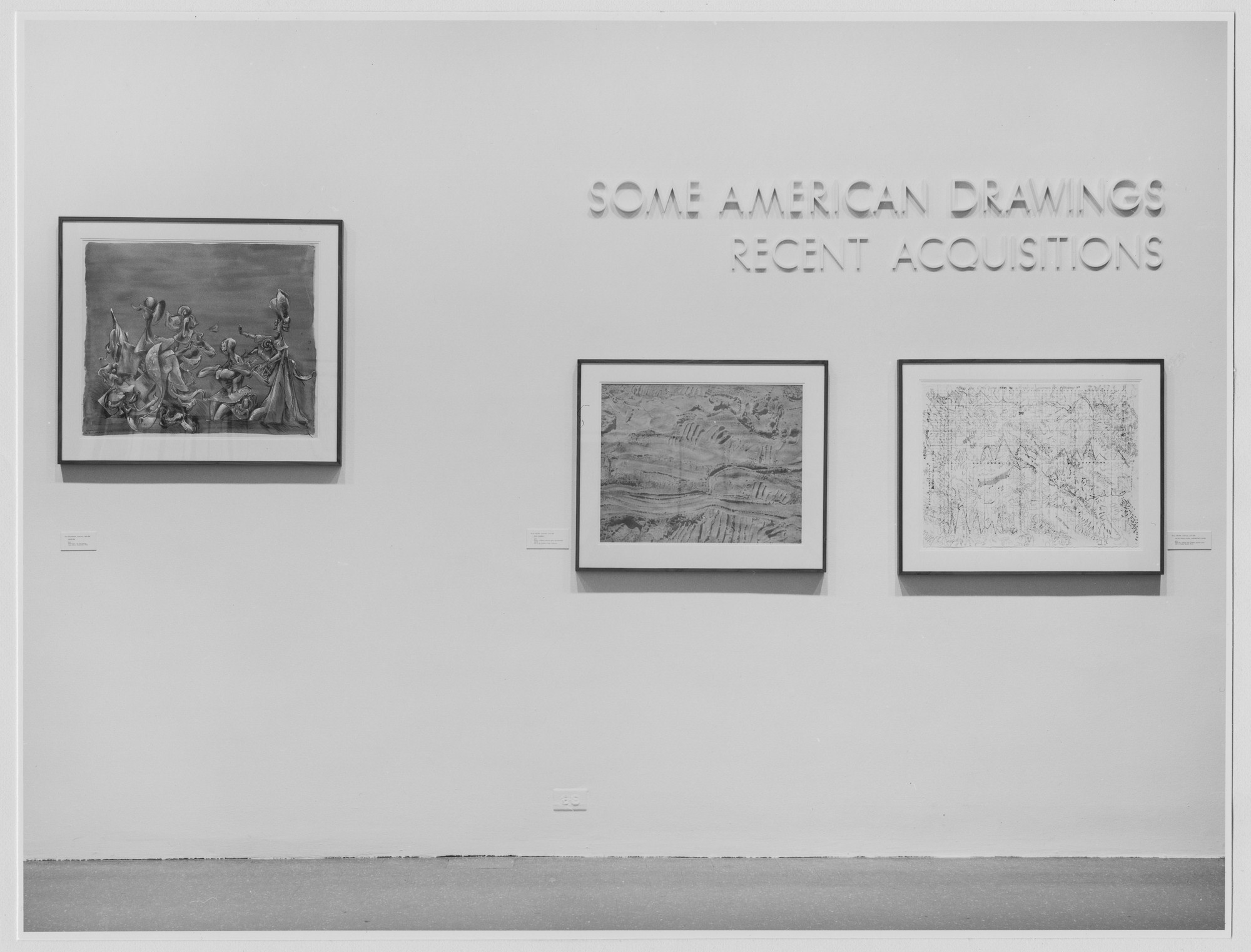 "Installation view of the exhibition, ""Some American Drawings: Recent Acquisitions."" July 19, 1976–September 12, 1976. Photographic Archive. The Museum of Modern Art Archives, New York. IN1140.1. Photograph by Katherine Keller."