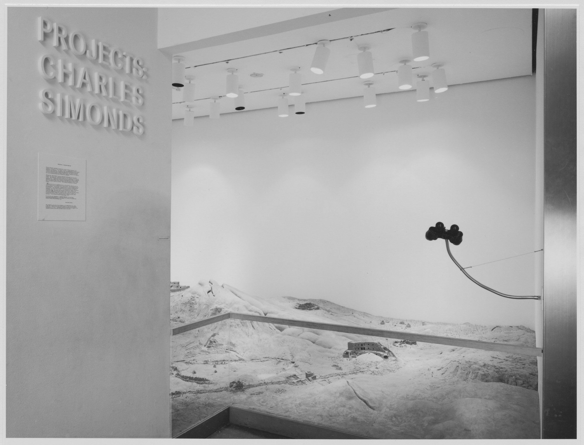 "Installation view of the exhibition, ""Projects: Charles Simonds and Mary Miss."" October 14, 1976–December 2, 1976. Photographic Archive. The Museum of Modern Art Archives, New York. IN1152.1. Photograph by David Allison."