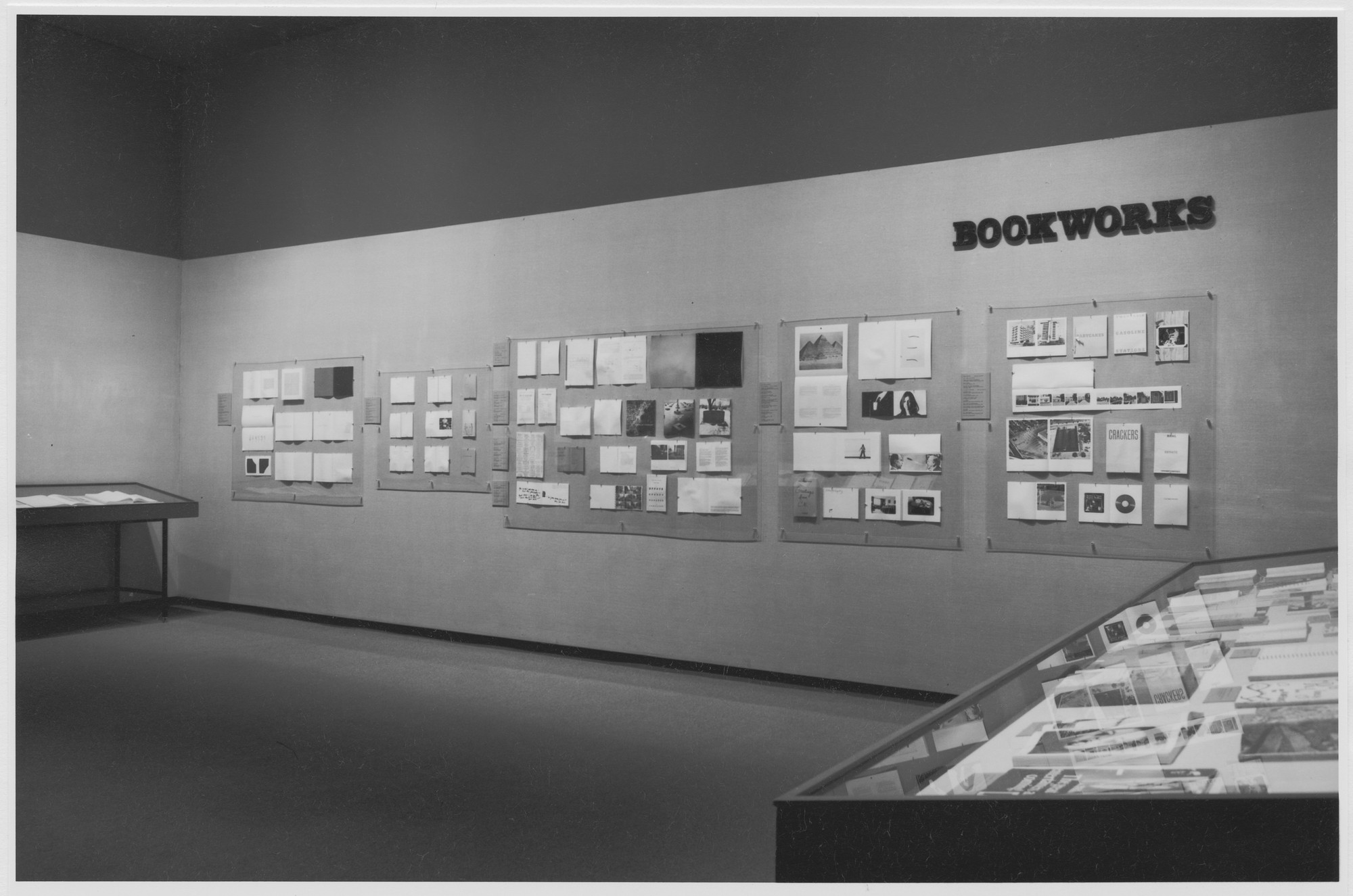 "Installation view of the exhibition, ""Bookworks."" March 17, 1977–May 30, 1977. Photographic Archive. The Museum of Modern Art Archives, New York. IN1169.1. Photograph by Katherine Keller."