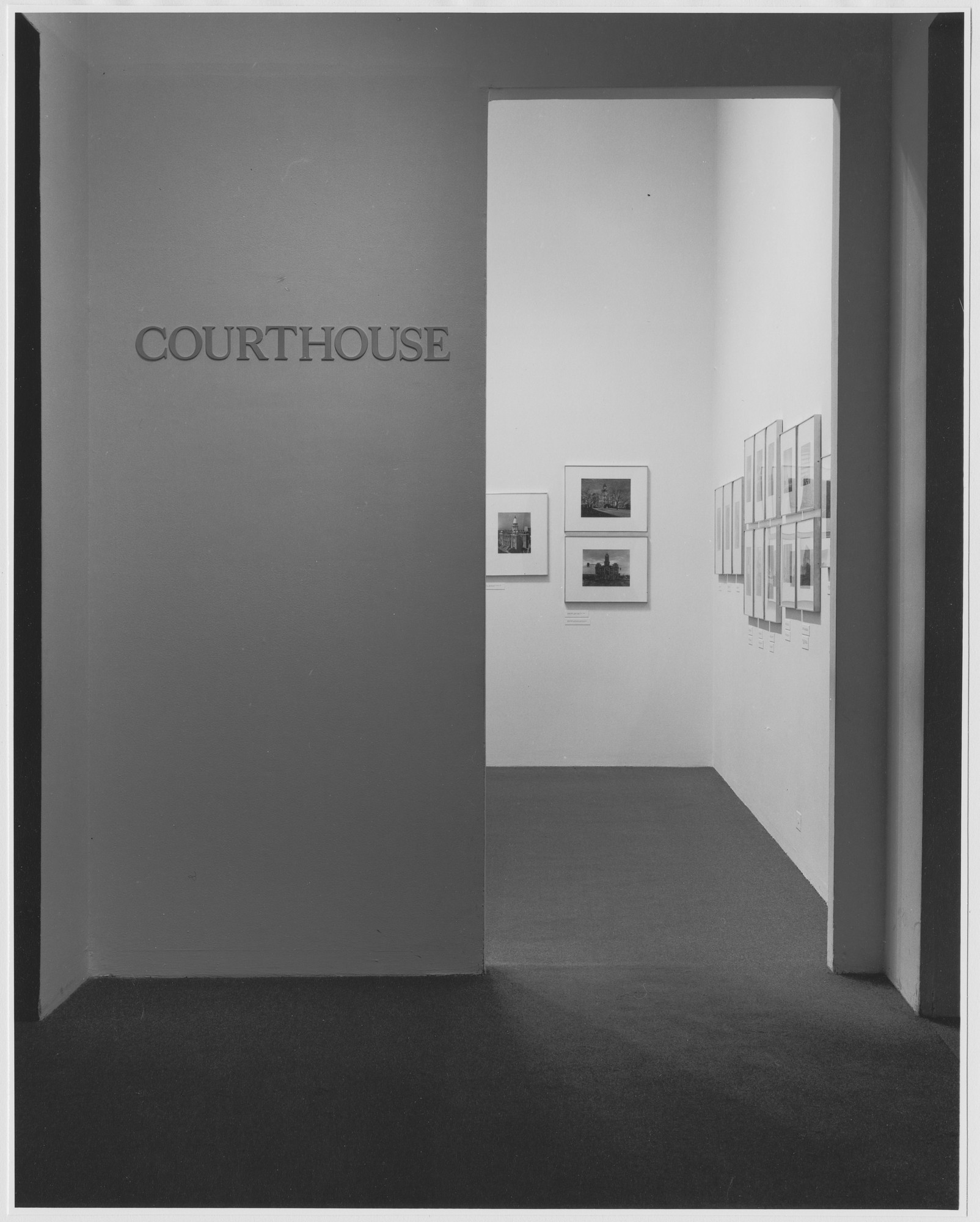 "Installation view of the exhibition, ""Courthouse."" April 12, 1977–July 10, 1977. Photographic Archive. The Museum of Modern Art Archives, New York. IN1172.1. Photograph by David Allison."