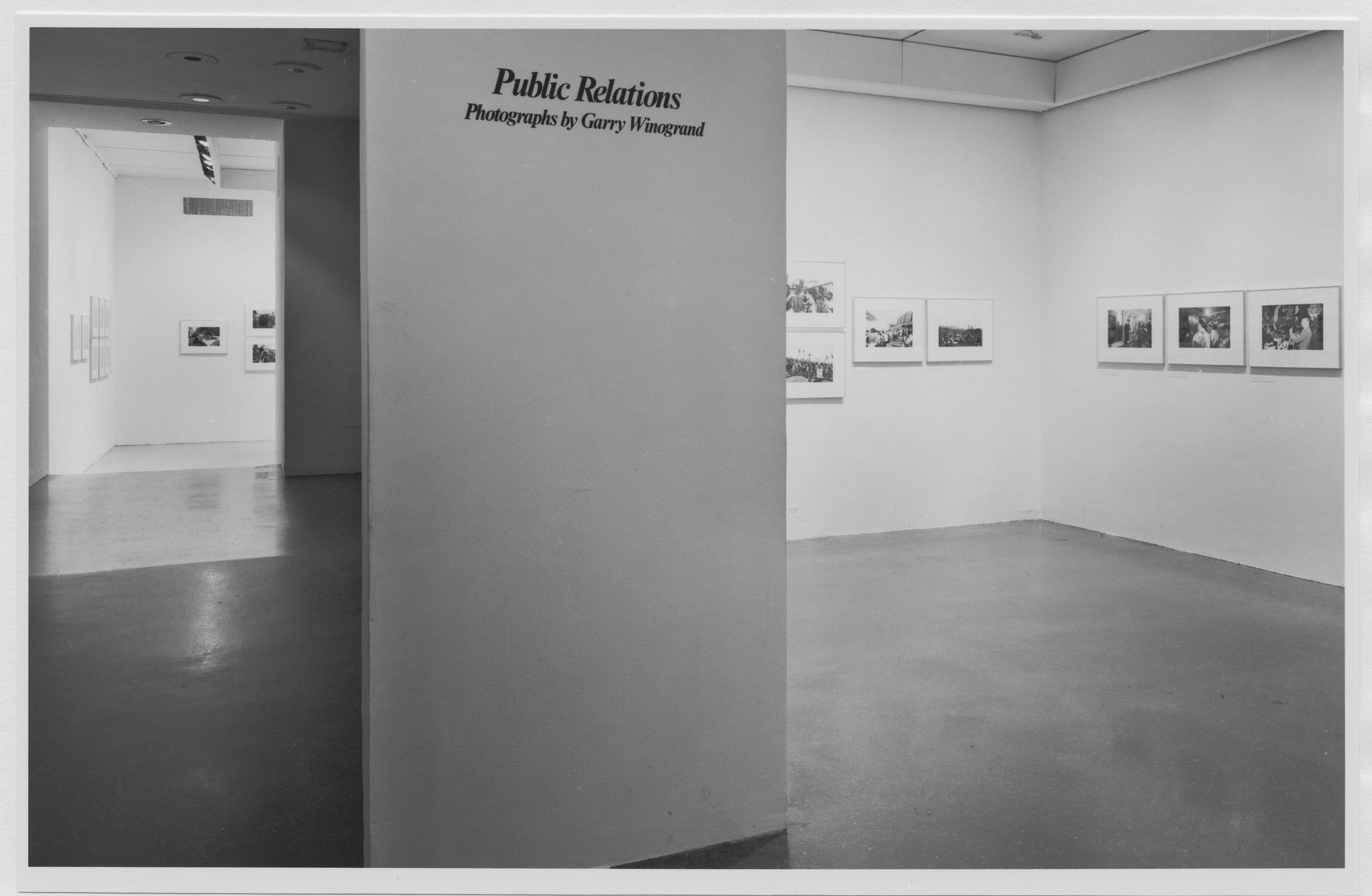 "Installation view of the exhibition, ""Public Relations: Garry Winogrand."" October 18, 1977–December 11, 1977. Photographic Archive. The Museum of Modern Art Archives, New York. IN1190.1. Photograph by Katherine Keller."