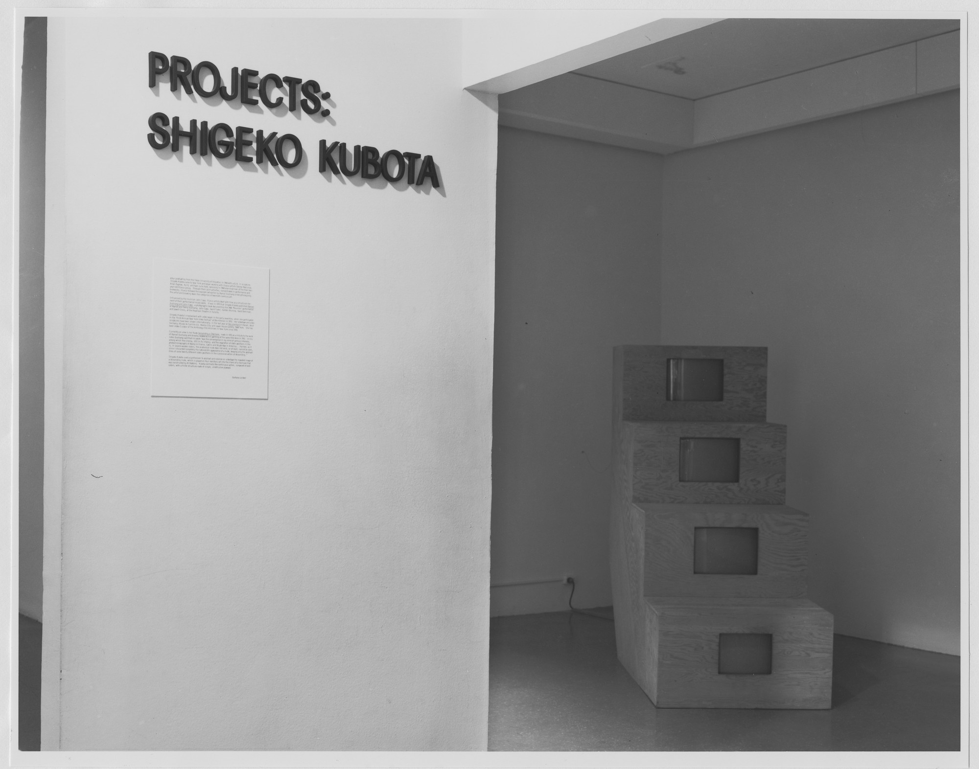 "Installation view of the exhibition, ""Projects: Shigeko Kubota"" March 16, 1978–May 2, 1978. Photographic Archive. The Museum of Modern Art Archives, New York. IN1203.1. Photograph by Katherine Keller."