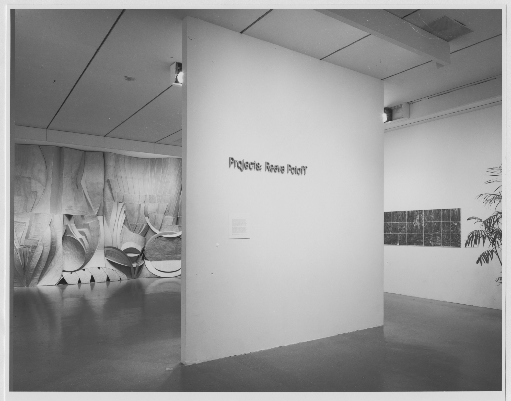 "Installation view of the exhibition, ""Projects: Reeva Potoff"" April 3, 1978–May 21, 1978. Photographic Archive. The Museum of Modern Art Archives, New York. IN1205.1. Photograph by Katherine Keller."