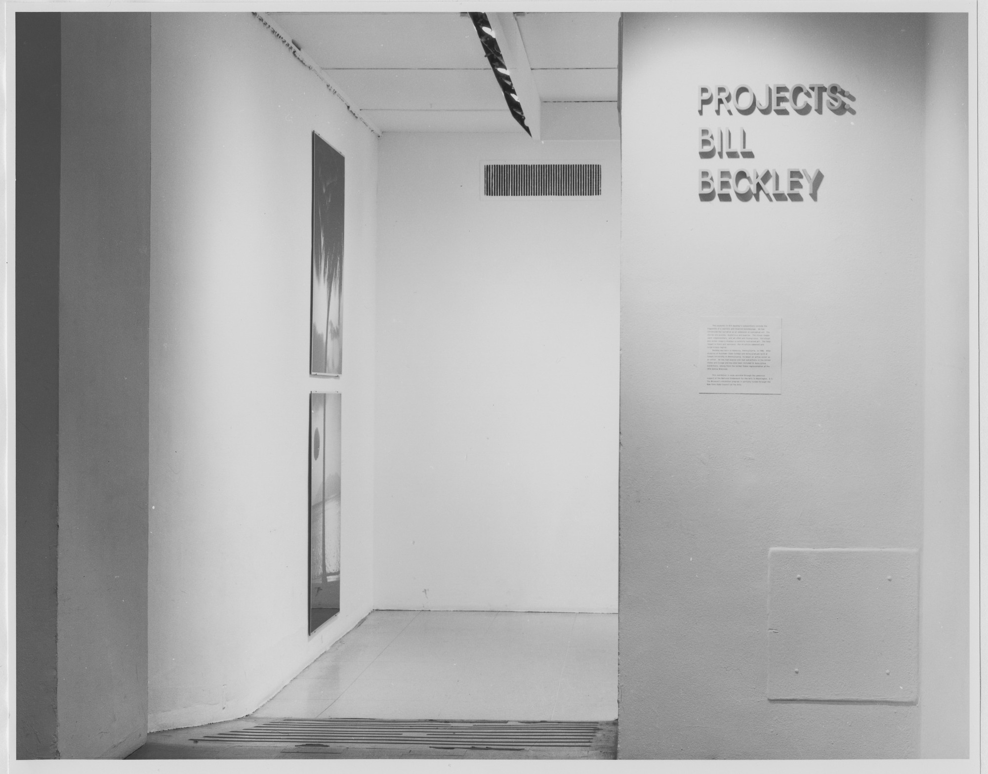 "Installation view of the exhibition, ""Projects: William Beckley"" October 14, 1978–November 28, 1978. Photographic Archive. The Museum of Modern Art Archives, New York. IN1234.1. Photograph by Katherine Keller."