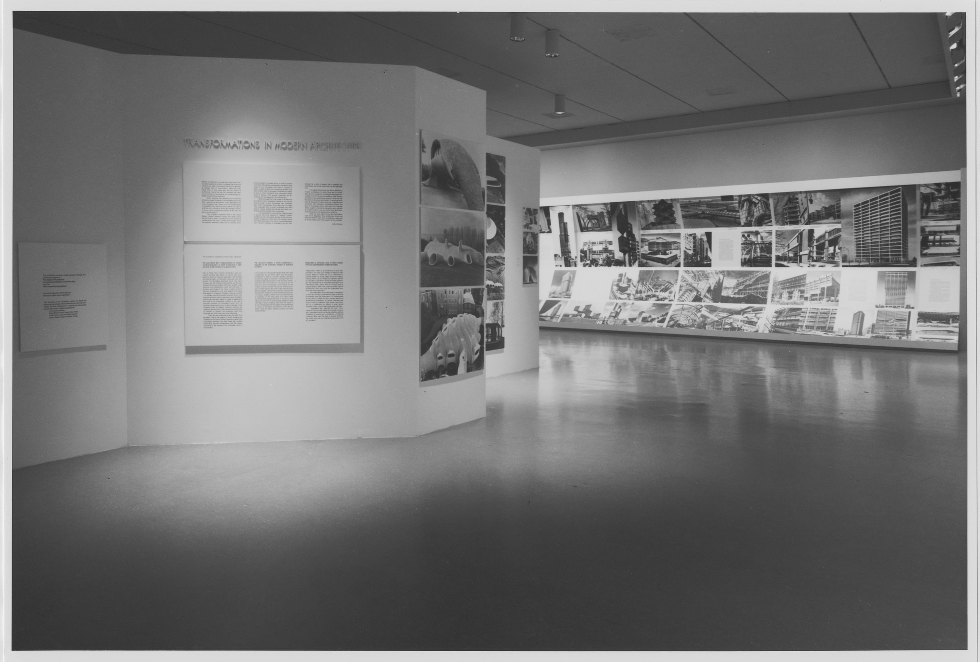 "Installation view of the exhibition, ""Transformations in Modern Architecture"" February 21, 1979–April 24, 1979. Photographic Archive. The Museum of Modern Art Archives, New York. IN1250.1. Photograph by Mali Olatunji."