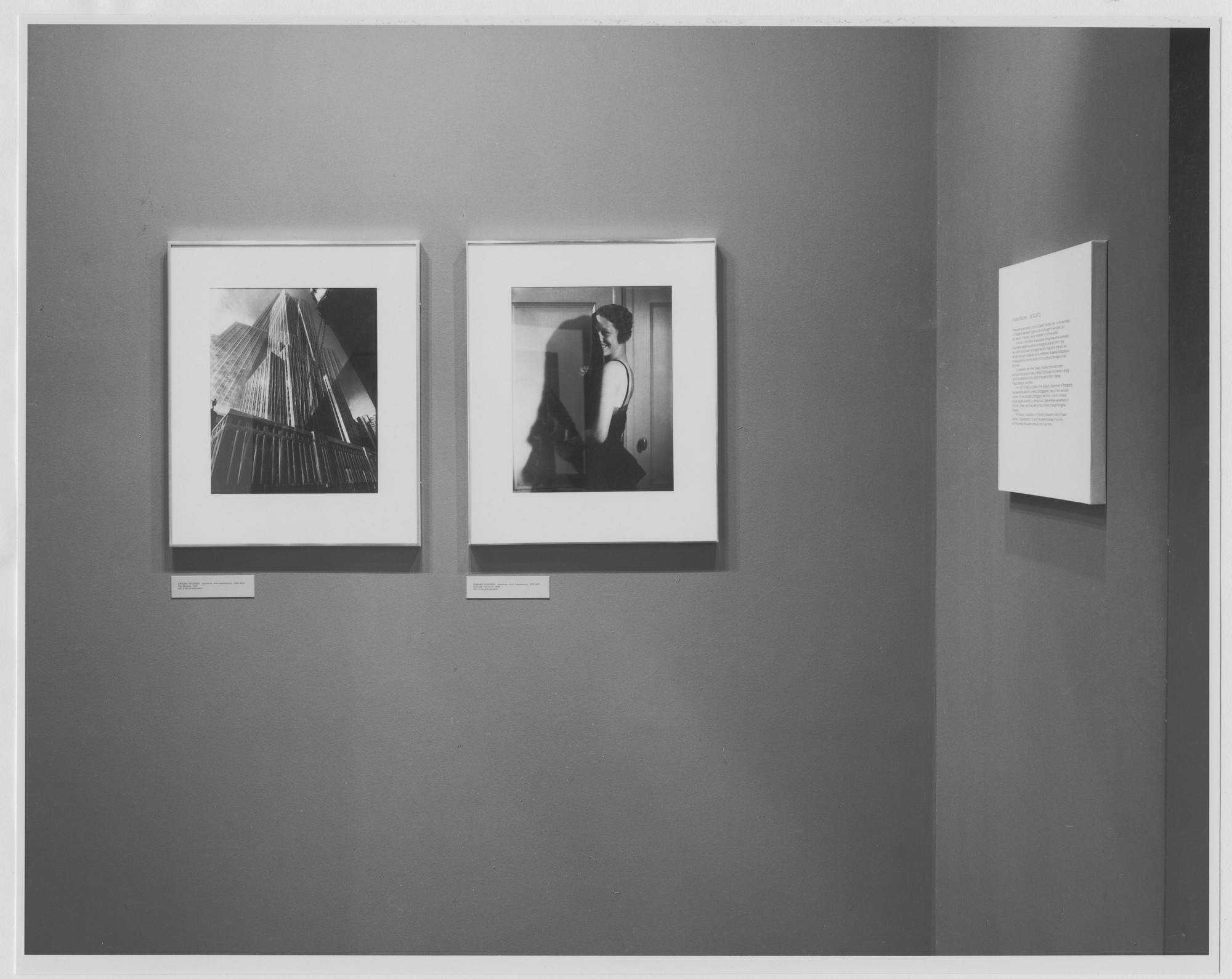 "Installation view of the exhibition, ""Edward Steichen Photography Center Reinstallation"" December 21, 1979 [unknown closing date]. Photographic Archive. The Museum of Modern Art Archives, New York. IN1281a.1. Photograph by Katherine Keller."