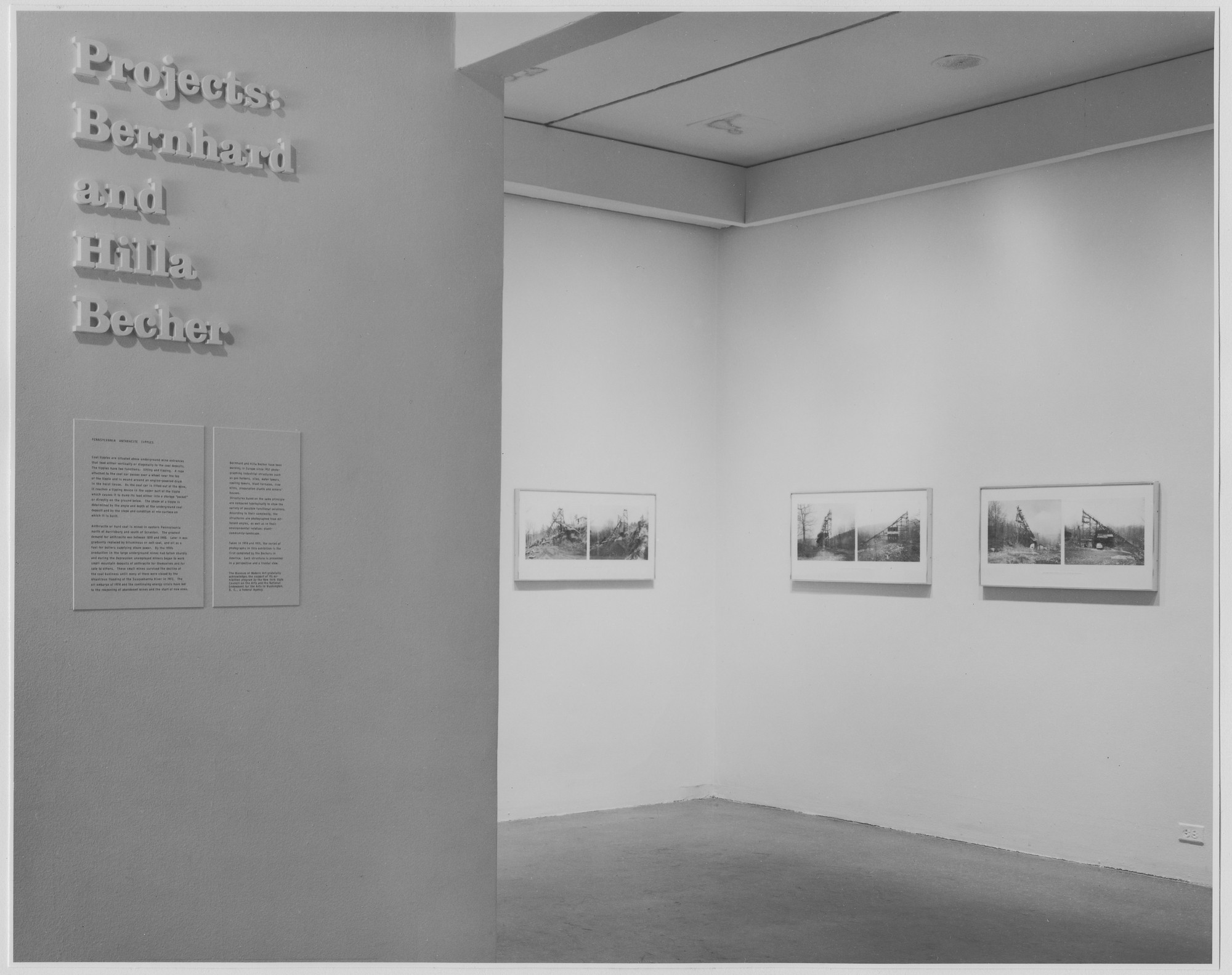 "Installation view of the exhibition, ""Projects: Bernhard and Hilla Becher."" December 8, 1975–January 22, 1976. Photographic Archive. The Museum of Modern Art Archives, New York. IN1115a.1. Photograph by David Allison."