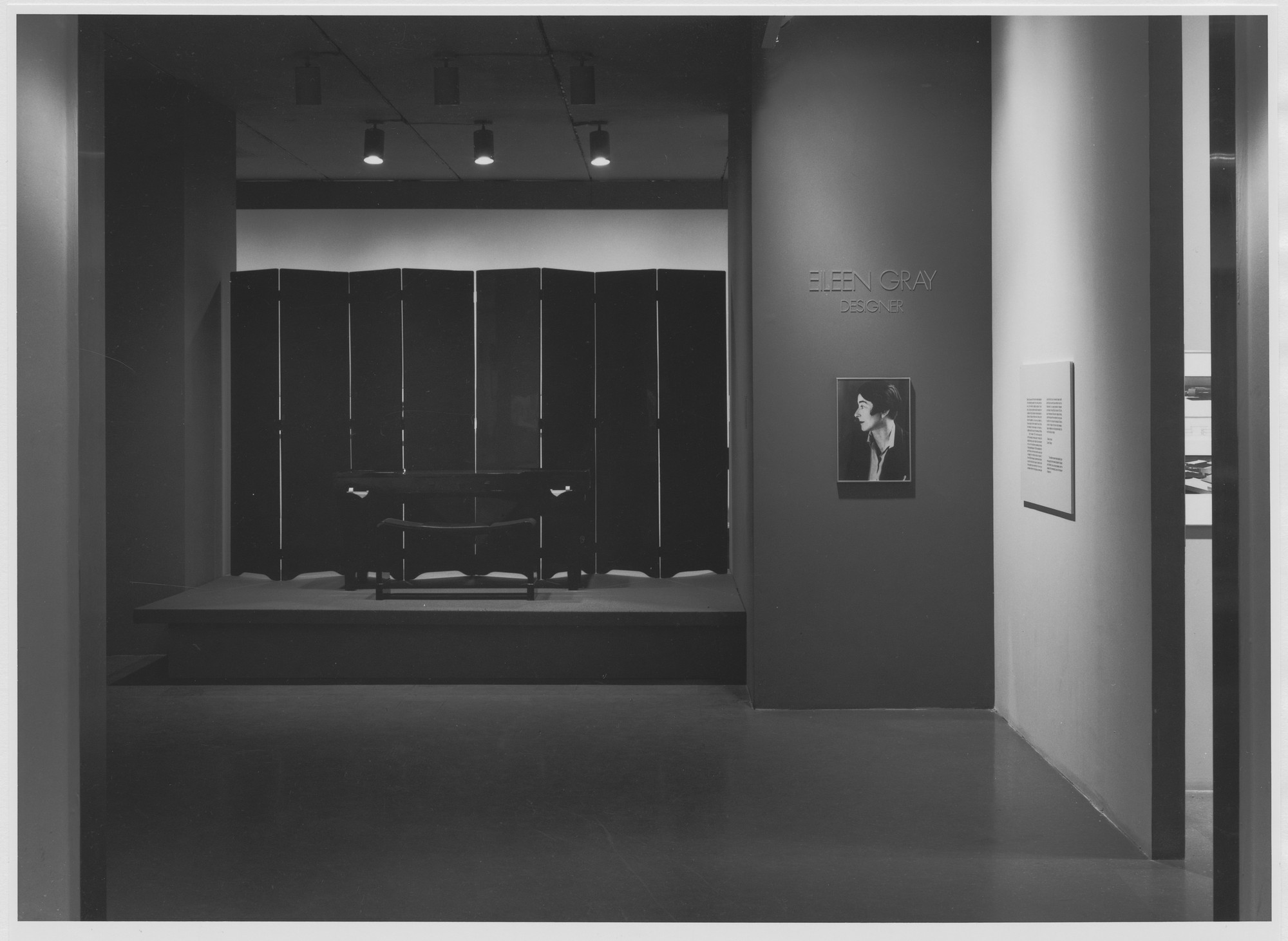 "Installation view of the exhibition, ""Eileen Gray"" February 6, 1980–April 1, 1980. Photographic Archive. The Museum of Modern Art Archives, New York. IN1286.1. Photograph by Mali Olatunji."