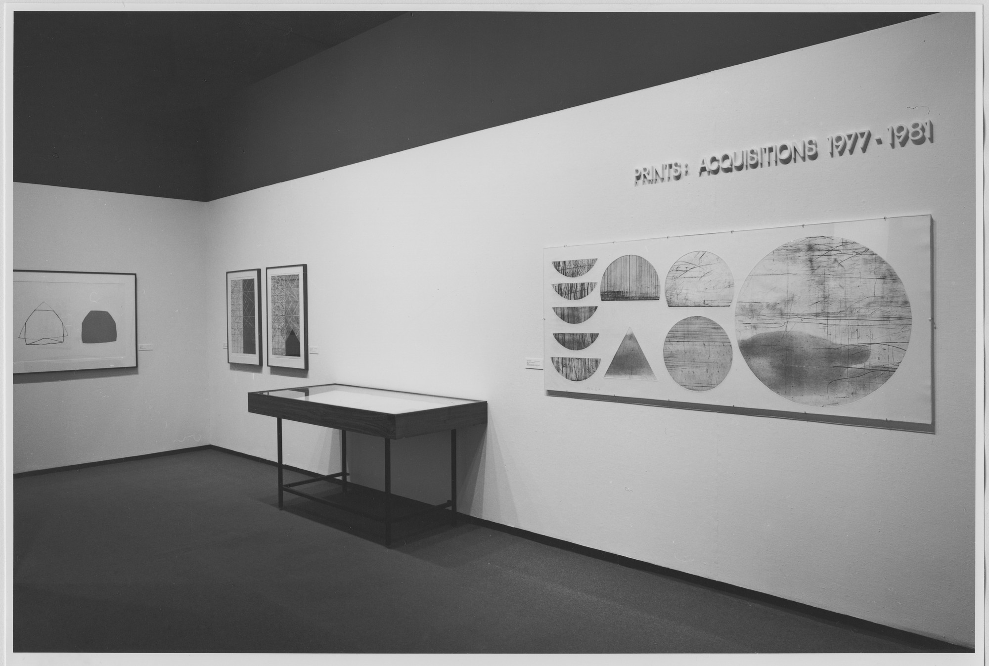 "Installation view of the exhibition, ""Prints: Acquisitions 1977-81"" October 15, 1981–January 3, 1982. Photographic Archive. The Museum of Modern Art Archives, New York. IN1324.1. Photograph by Mali Olatunji."
