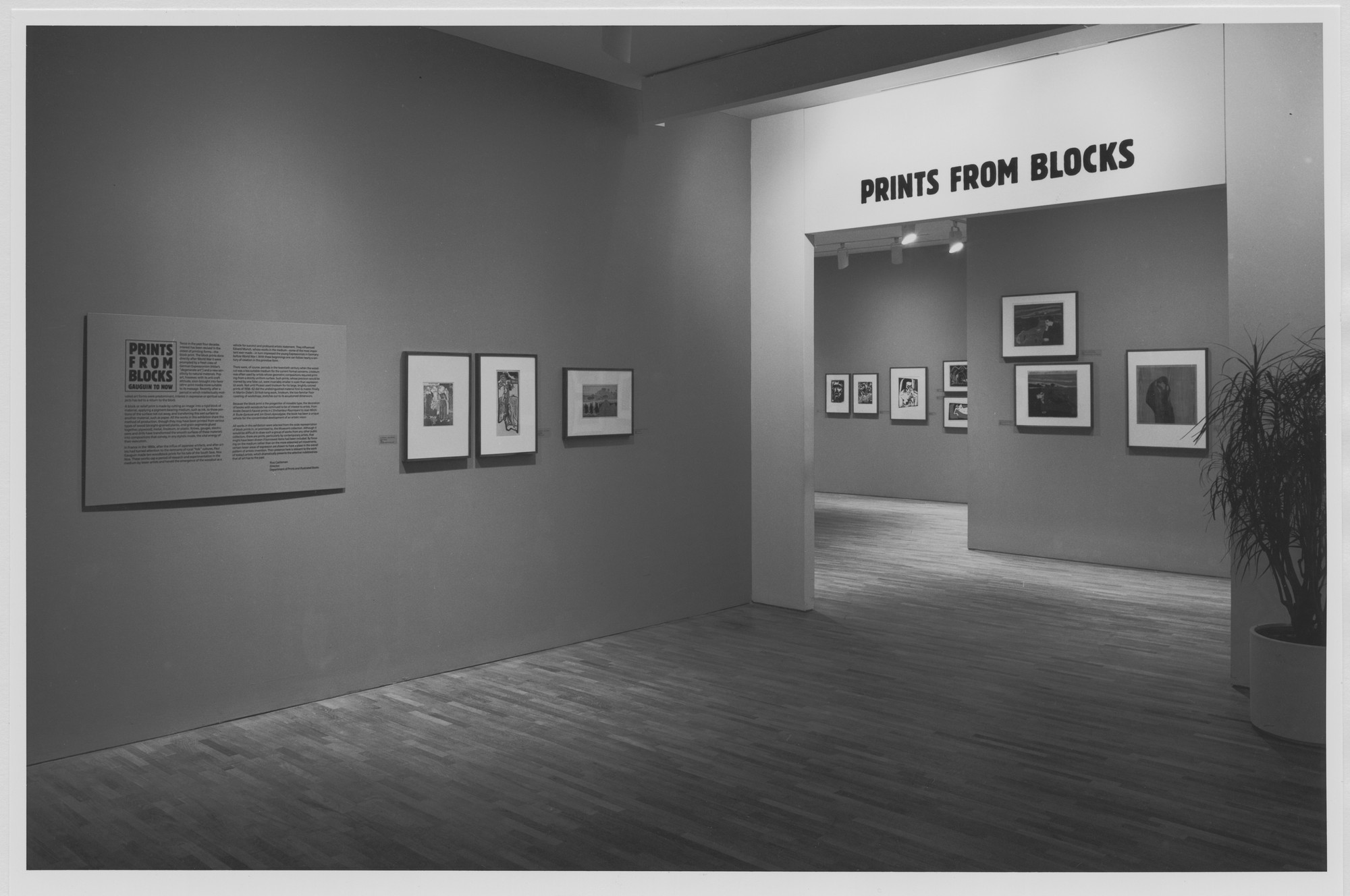 "Installation view of the exhibition, ""Prints from Blocks: Gauguin to Now"" March 3, 1983–May 15, 1983. Photographic Archive. The Museum of Modern Art Archives, New York. IN1345.1. Photograph by Mali Olatunji."