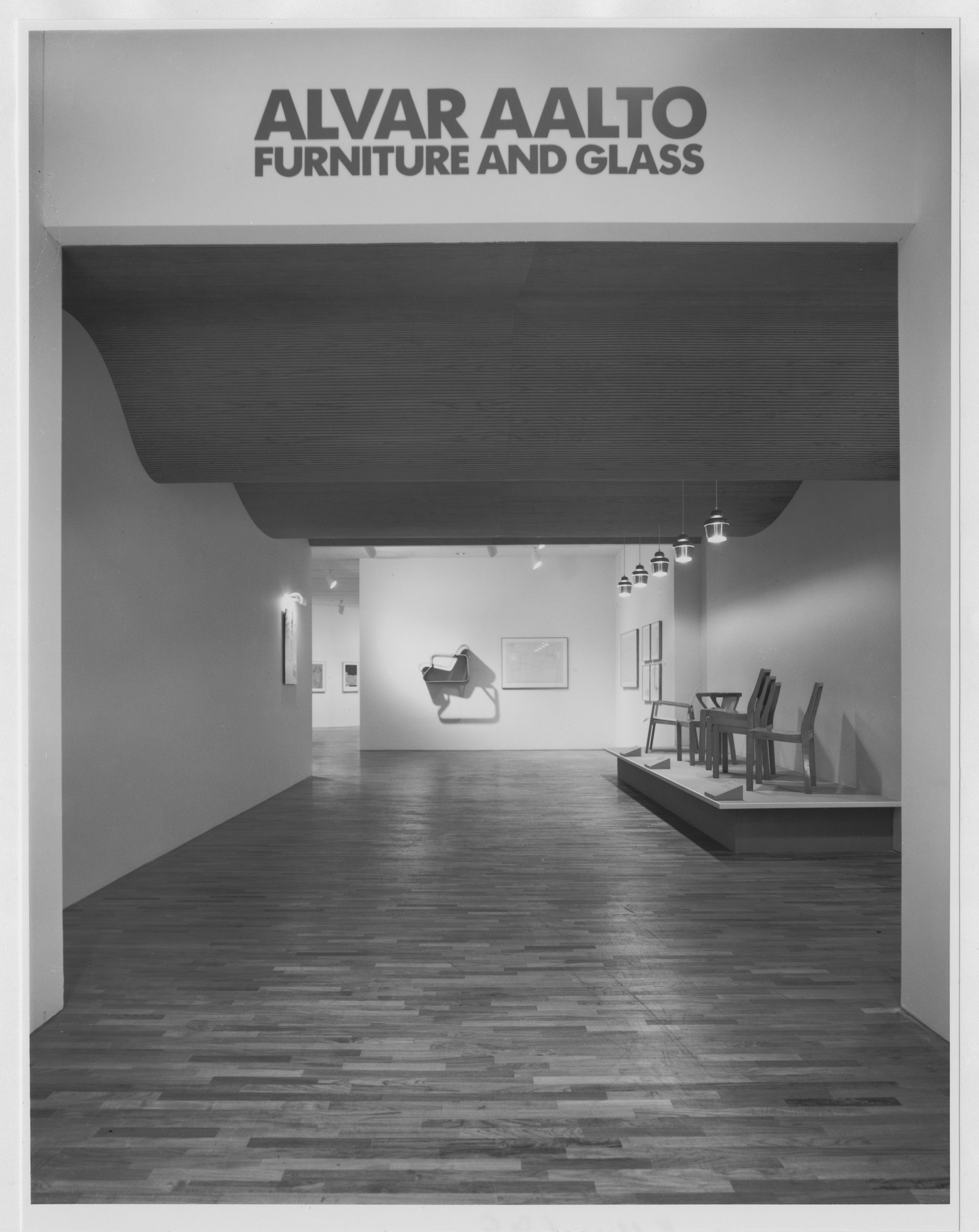 "Installation view of the exhibition, ""Alvar Aalto: Furniture and Glass"" September 26, 1984–November 27, 1984. Photographic Archive. The Museum of Modern Art Archives, New York. IN1383.1. Photograph by Katherine Keller."