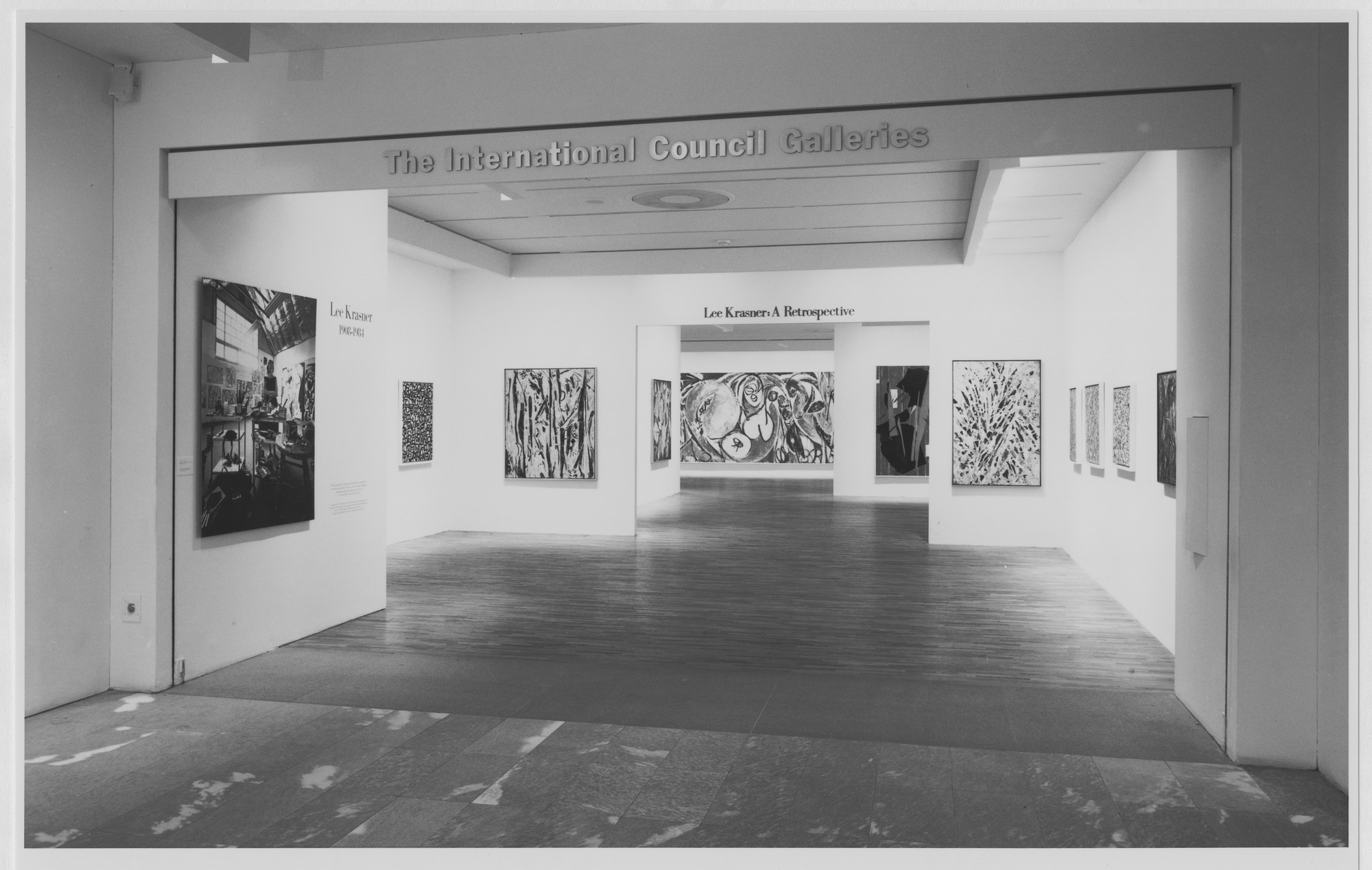 "Installation view of the exhibition, ""Lee Krasner: A Retrospective"" December 20, 1984–February 12, 1985. Photographic Archive. The Museum of Modern Art Archives, New York. IN1385.1. Photograph by Mali Olatunji."