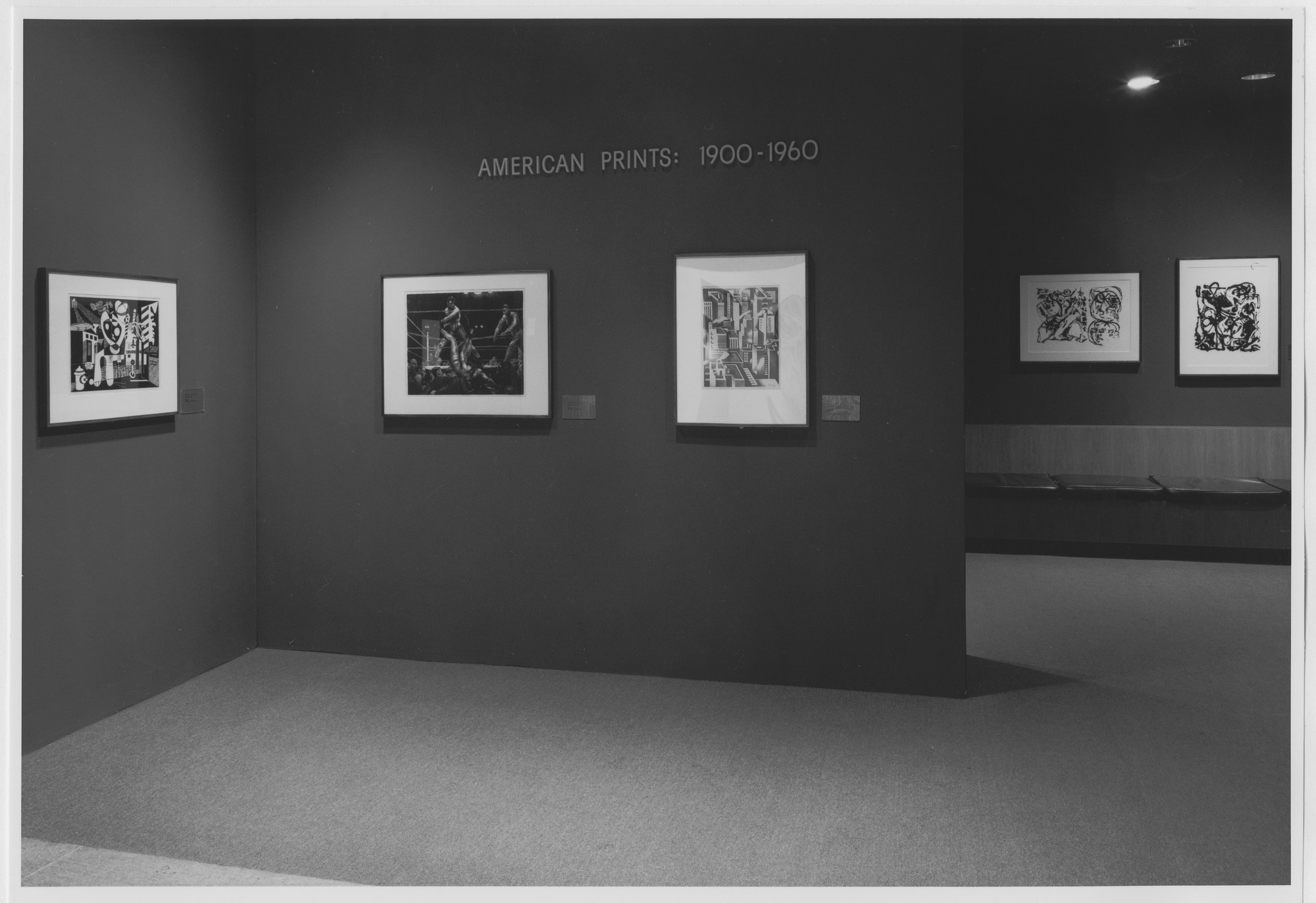 "Installation view of the exhibition, ""American Prints: 1900-1960"" December 18, 1985–May 20, 1986. Photographic Archive. The Museum of Modern Art Archives, New York. IN1412a.1. Photograph by Mali Olatunji."