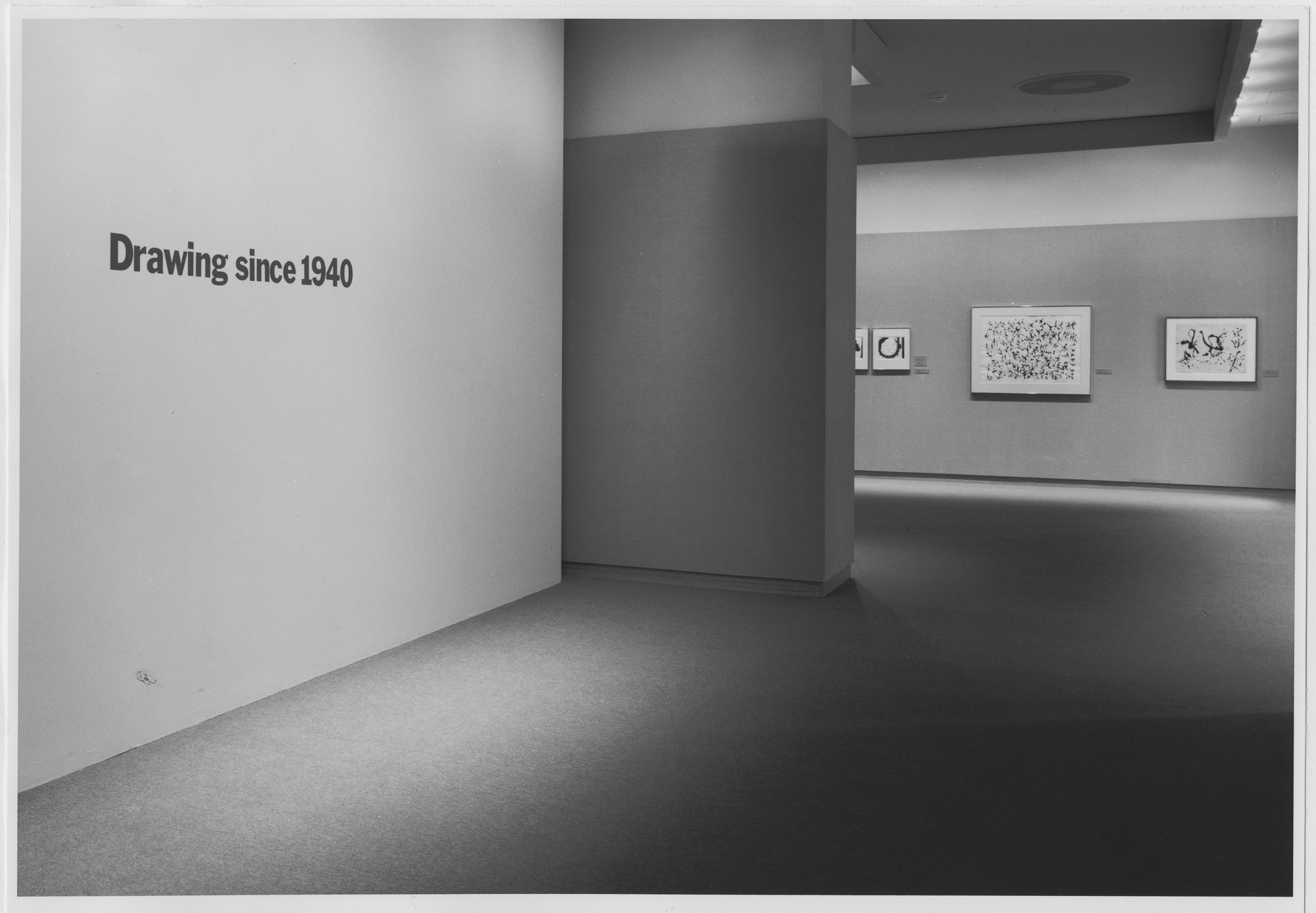 "Installation view of the exhibition, ""Drawing After 1940"" June 25, 1987–October 13, 1987. Photographic Archive. The Museum of Modern Art Archives, New York. IN1455.1. Photograph by Mali Olatunji."