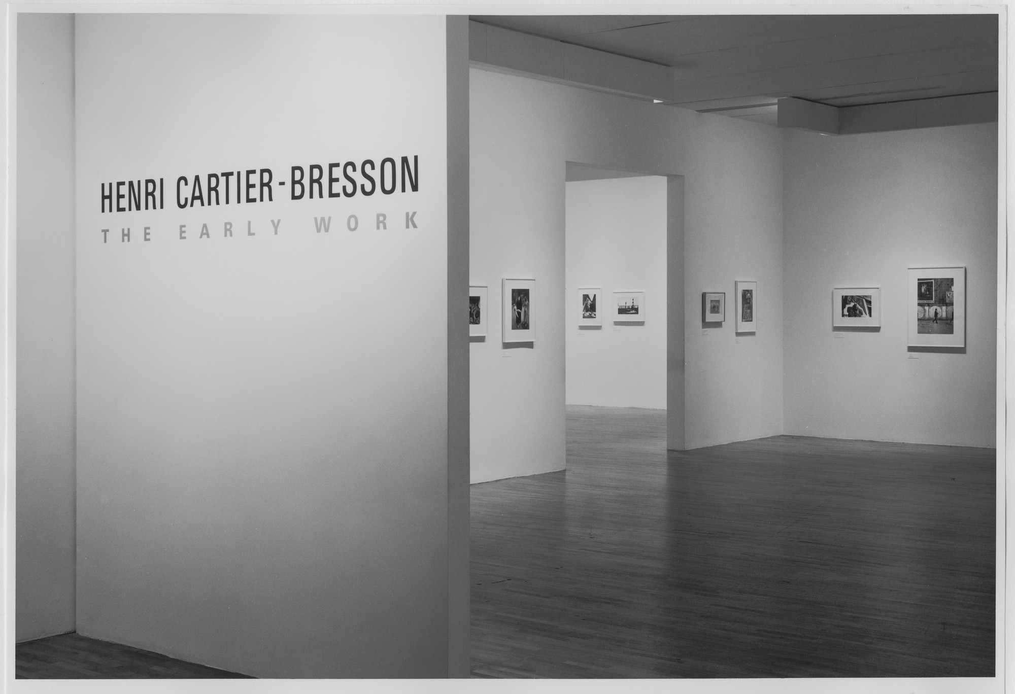 "Installation view of the exhibition, ""Henri Cartier-Bresson:  The Early Work"" September 10, 1987–November 29, 1987. Photographic Archive. The Museum of Modern Art Archives, New York. IN1461.1. Photograph by Mali Olatunji."