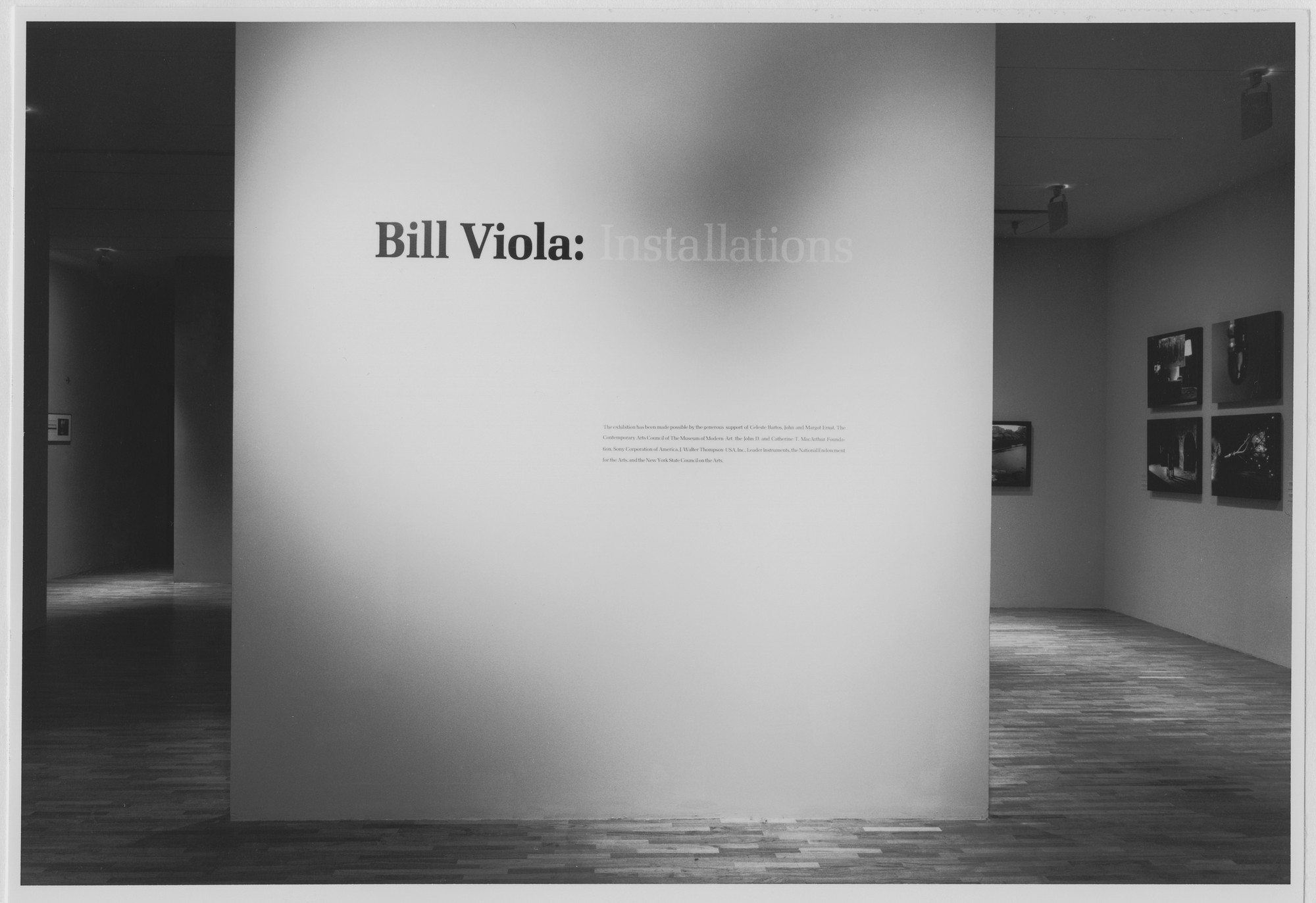 "Installation view of the exhibition, ""Bill Viola"" October 17, 1987–January 3, 1988. Photographic Archive. The Museum of Modern Art Archives, New York. IN1465.1. Photograph by Mali Olatunji."