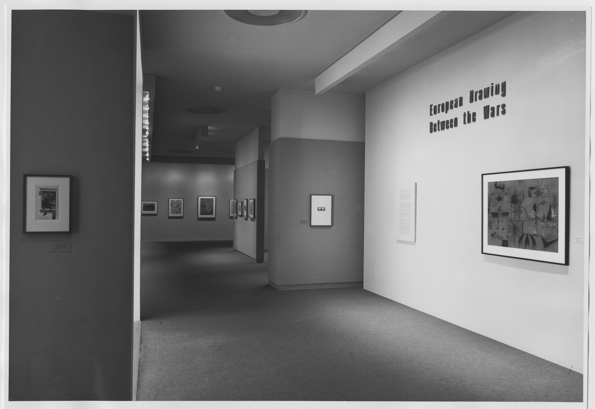 "Installation view of the exhibition, ""European Drawing Between the Wars"" October 24, 1987–March 1, 1988. Photographic Archive. The Museum of Modern Art Archives, New York. IN1466.1. Photograph by Mali Olatunji."