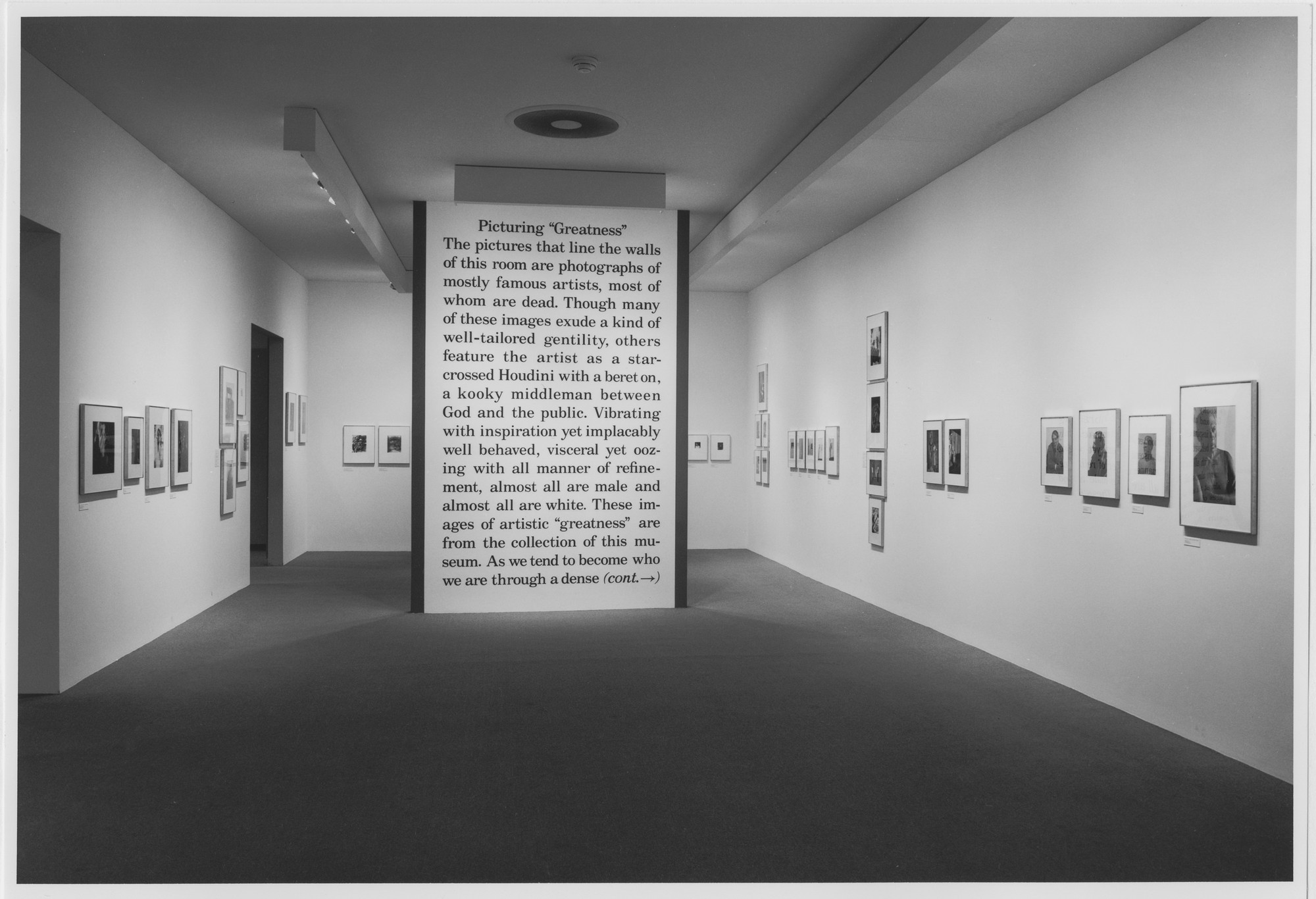 "Installation view of the exhibition, ""Picturing Greatness"" January 14, 1988–April 17, 1988. Photographic Archive. The Museum of Modern Art Archives, New York. IN1472.1. Photograph by Mali Olatunji."