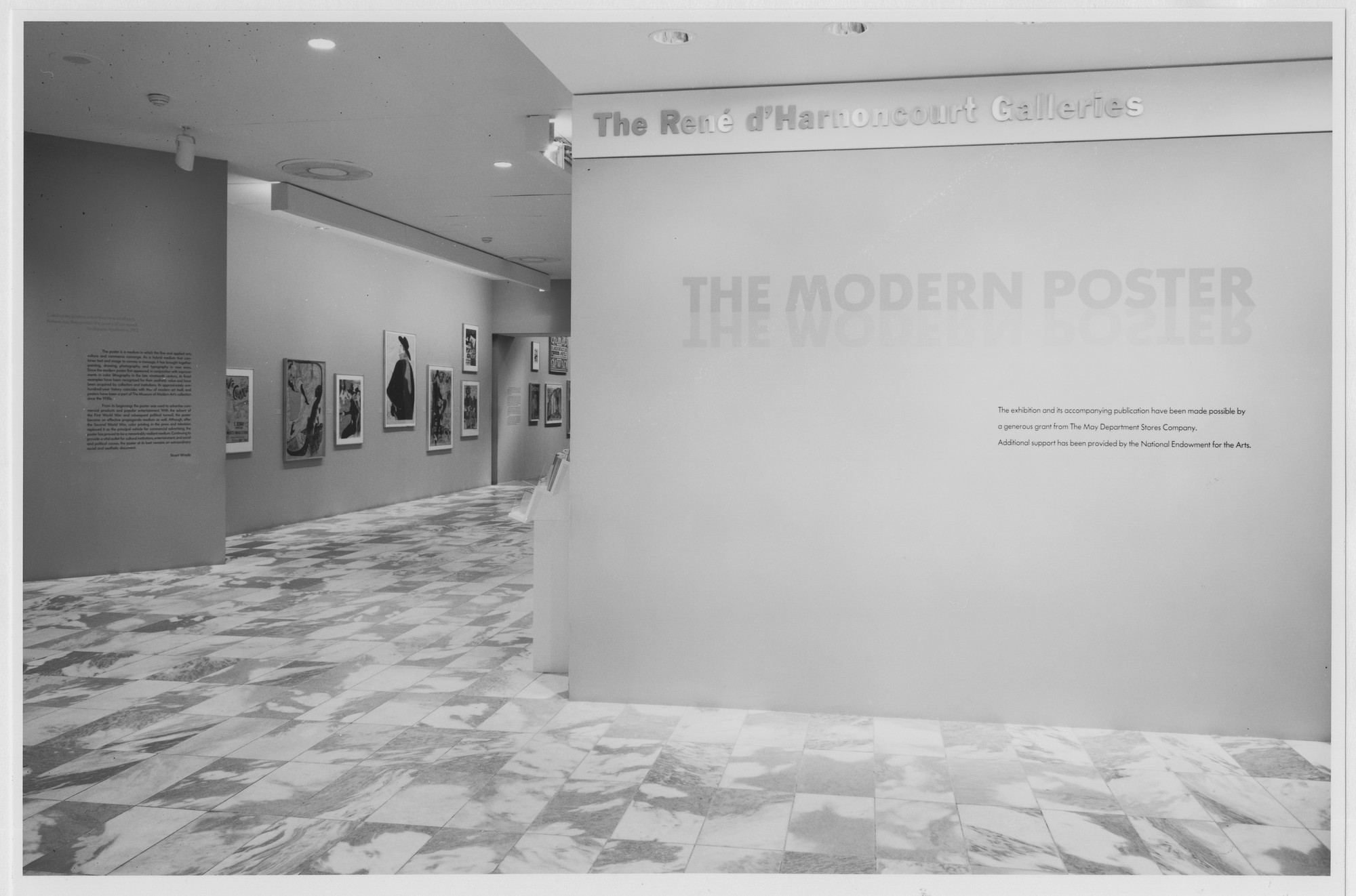 "Installation view of the exhibition, ""The Modern Poster"" June 6, 1988–September 6, 1988. Photographic Archive. The Museum of Modern Art Archives, New York. IN1487.1. Photograph by Mali Olatunji."