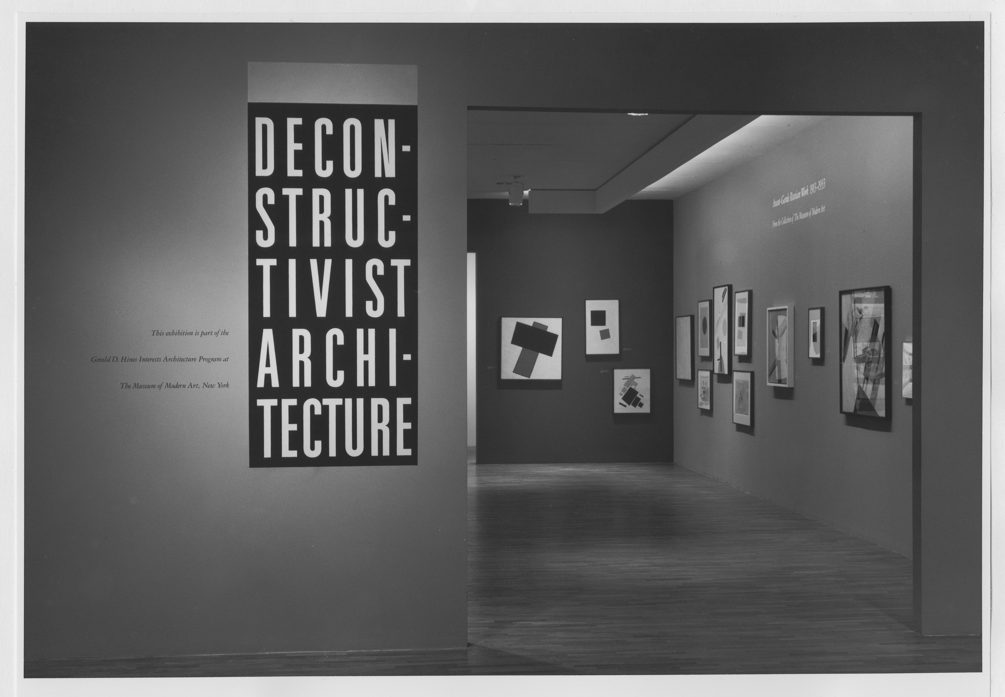 "Installation view of the exhibition, ""Deconstructivist Architecture"" June 23, 1988–August 30, 1988. Photographic Archive. The Museum of Modern Art Archives, New York. IN1489.1. Photograph by Mali Olatunji."