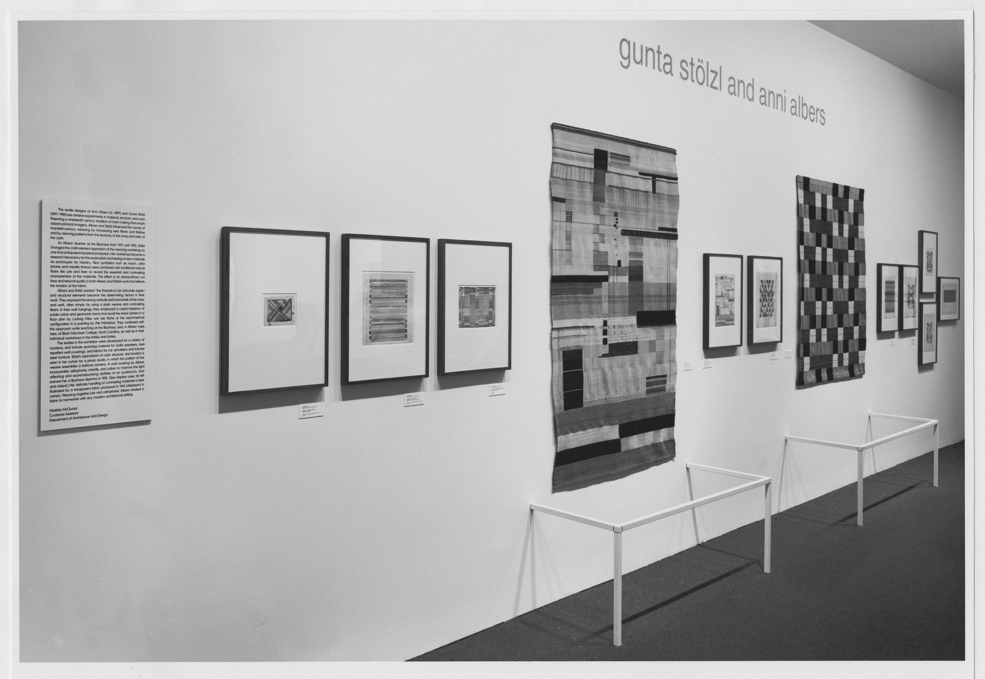 "Installation view of the exhibition, ""Gunta Stölzl and Anni Albers"" February 15, 1990–July 8, 1990. Photographic Archive. The Museum of Modern Art Archives, New York. IN1542a.1. Photograph by Mali Olatunji."