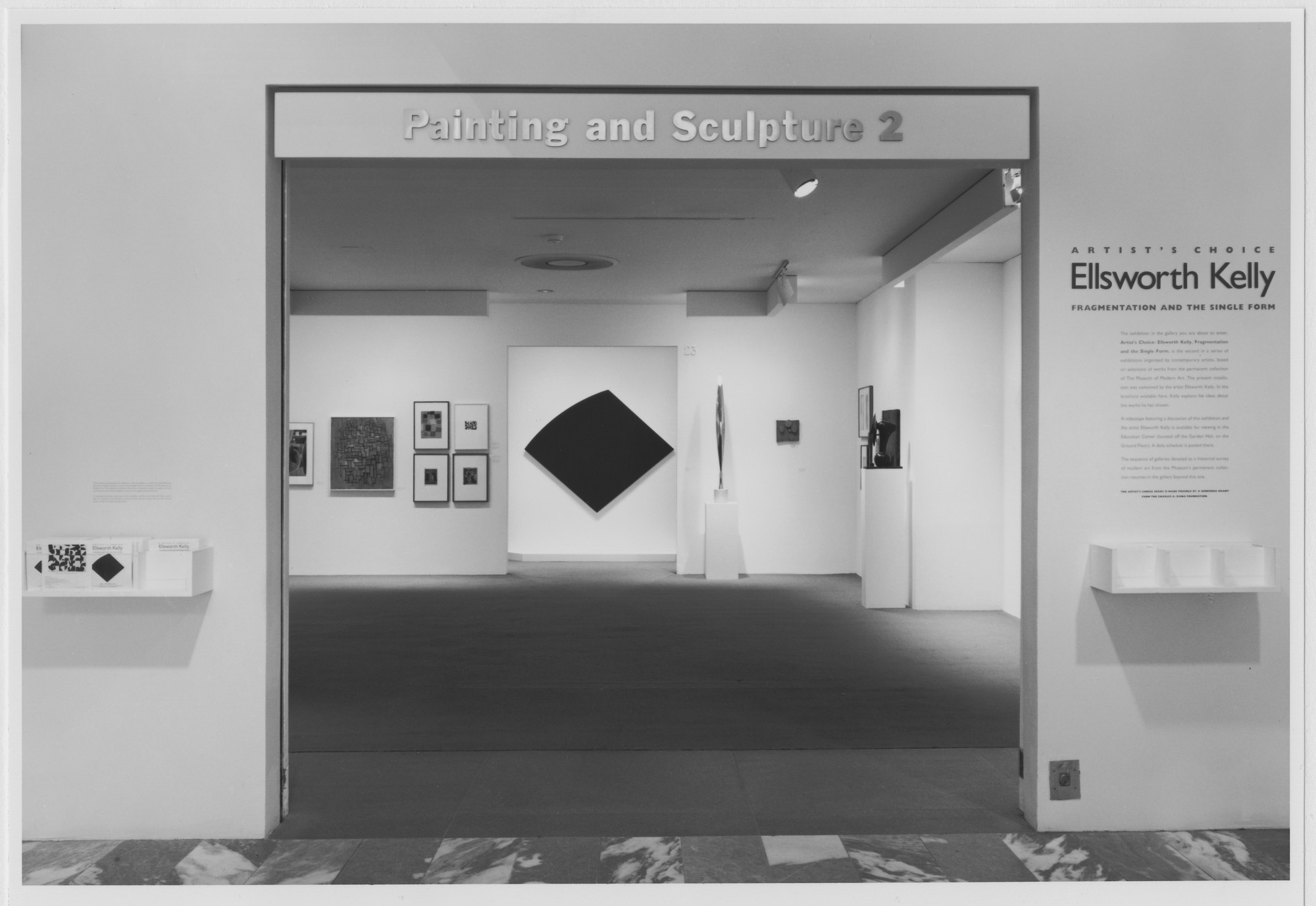 "Installation view of the exhibition, ""Artist's Choice: Ellsworth Kelly Fragmentation and the Single Form"" June 15, 1990–September 4, 1990. Photographic Archive. The Museum of Modern Art Archives, New York. IN1551.1. Photograph by Mali Olatunji."
