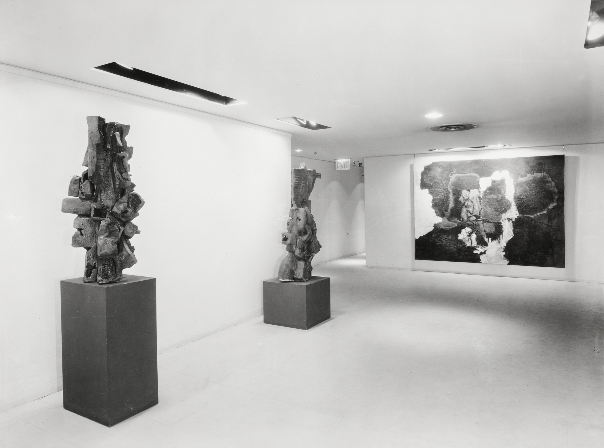 "Installation view of the exhibition, ""New Talent XIII - Peter Voulkos"" February 1, 1960–March 13, 1960. The Museum of Modern Art Exhibition Records, 658.3. The Museum of Modern Art Archives, New York. IN658.1. Photograph by Soichi Sunami."
