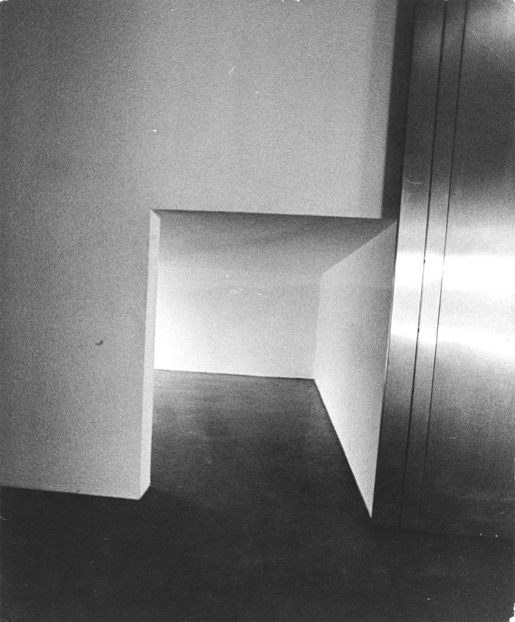 """Entrance to smaller gallery (where camera is located).""  Installation view of the exhibition, ""Projects:  Keith Sonnier"" May 5, 1971–August 2, 1971. The Museum of Modern Art Exhibition Records, 964.8. The Museum of Modern Art Archives, New York. IN964.1. Photograph by Richard ""Dickie"" Landry."