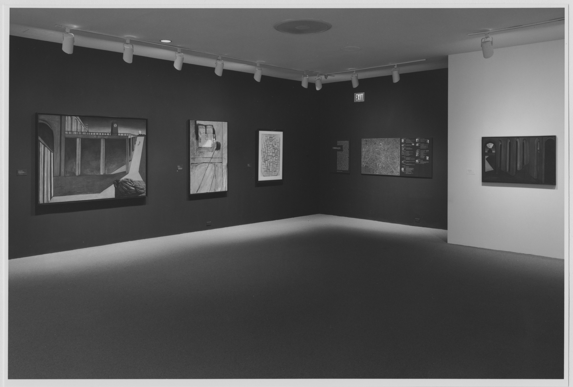 "Installation view of the exhibition, ""Unreal City, "" in the series, ""Modern Starts,"" 1st of 3 cycles of ""MoMA 2000"" October 27, 1999–March 14, 2000. Photographic Archive. The Museum of Modern Art Archives, New York. IN1837G.1. Photograph by Katherine Keller."