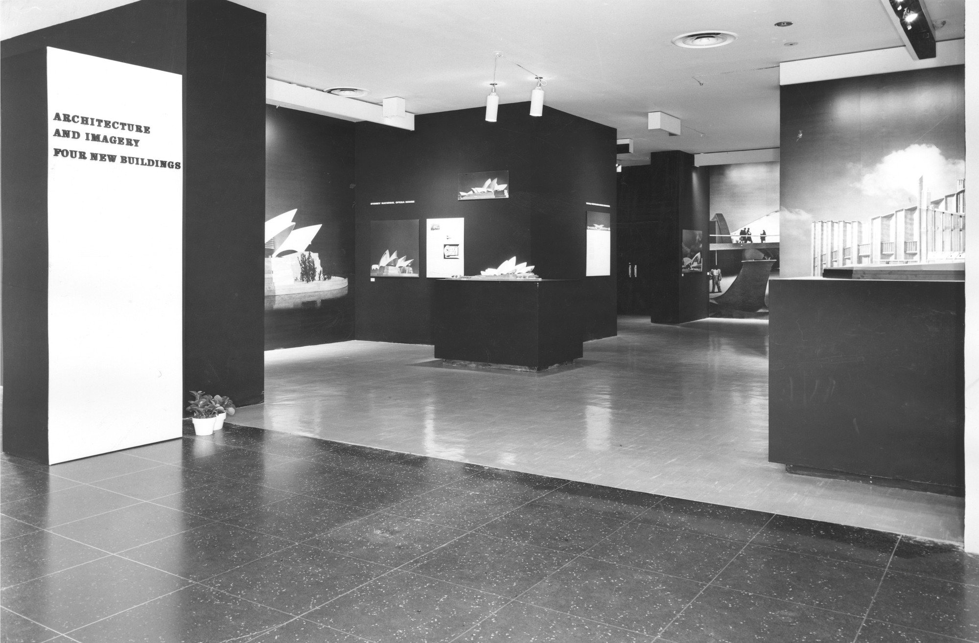 "Installation view of the exhibition, ""Architecture and Imagery:  Four New Buildings"" February 11, 1959–April 19, 1959. The Museum of Modern Art Exhibition Records, 640.4. The Museum of Modern Art Archives, New York. IN640.1. Photograph by George Barrows."