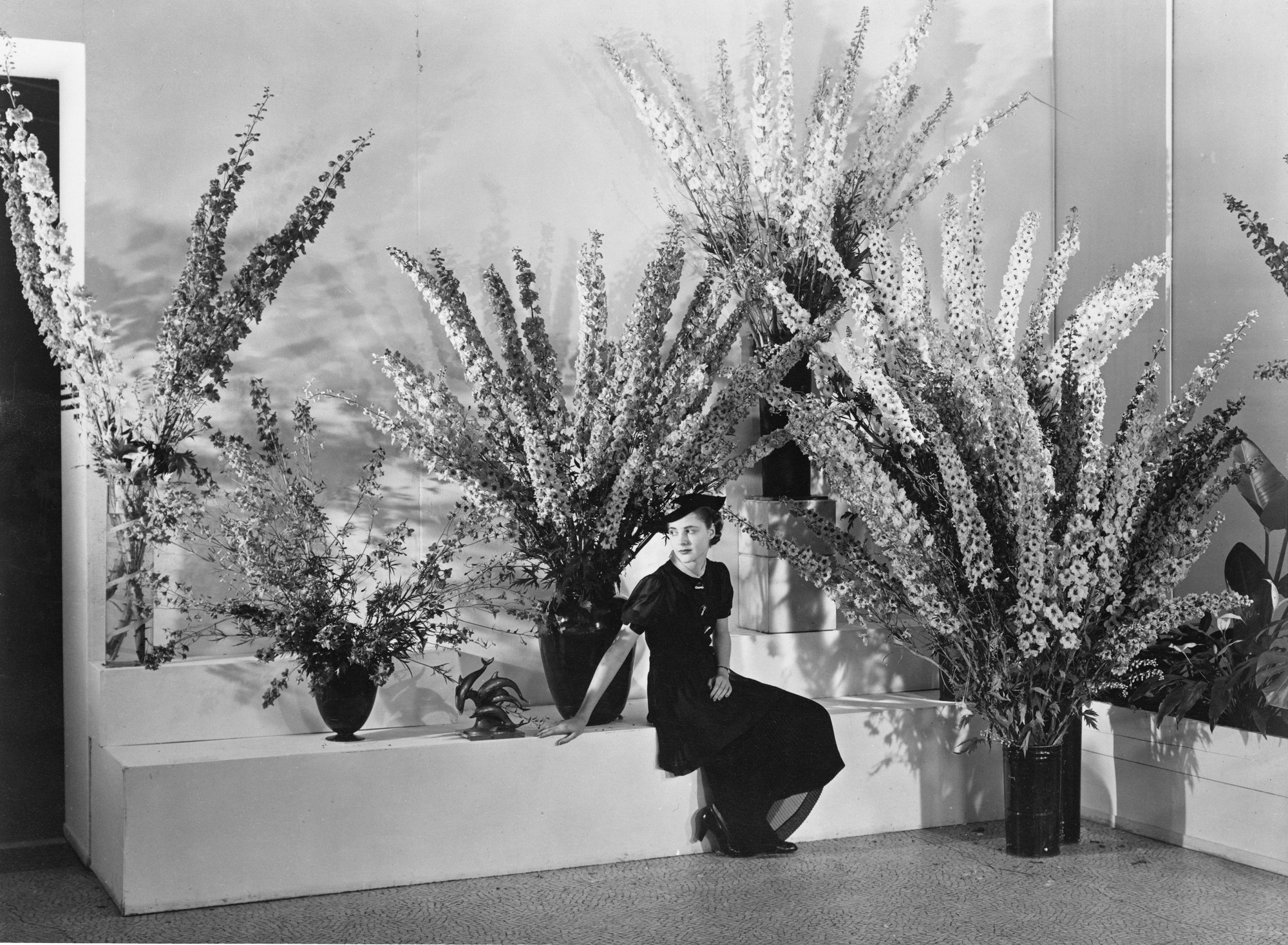 "Installation view of the exhibition, ""Edward Steichen's Delphiniums"" June 24, 1936–July 1, 1936. IN50.2. Photograph by Edward Steichen."