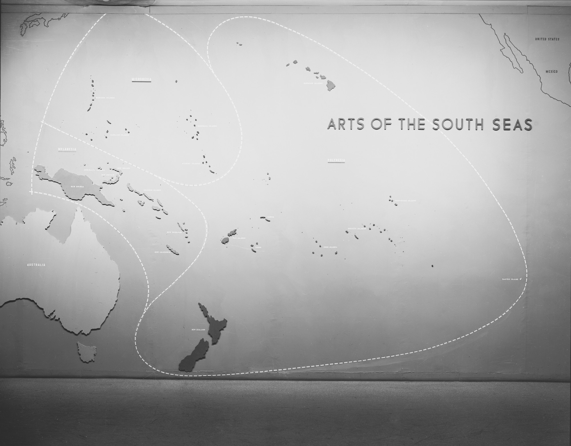 "Installation view of the exhibition ""Arts of the South Seas."" January 29, 1946–May 19, 1946. Photographic Archive. The Museum of Modern Art Archives, New York. IN306.1"