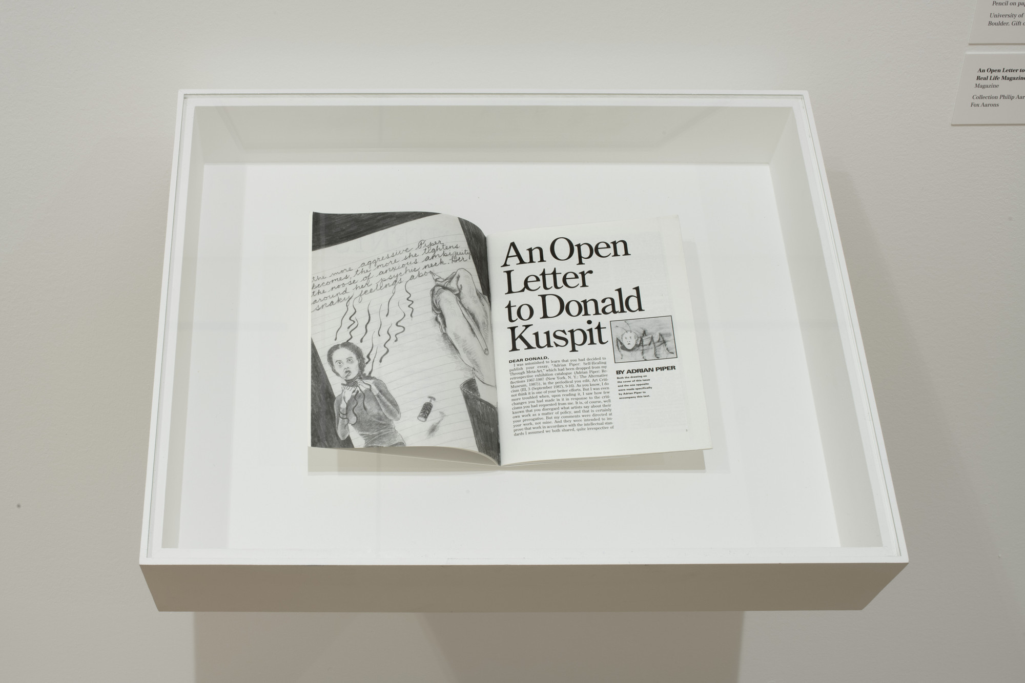 """Installation view of the exhibition """"Adrian Piper: A"""