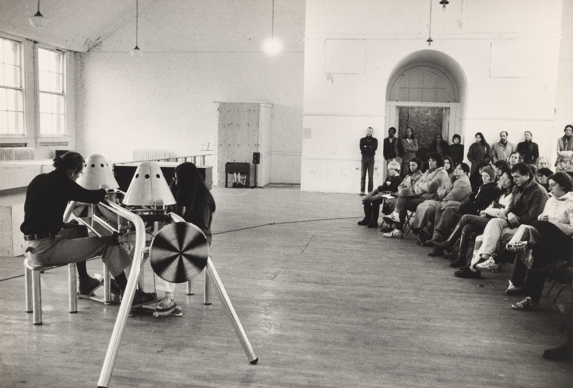 "Installation view of  ""Fuser"" (1978) by  Bob Bates in the P.S. 1 exhibition ""Sound"" September 30, 1979–November 18, 1979. MoMA PS1 Archives, II.A.186. The Museum of Modern Archives, New York. INPS1.186.10"
