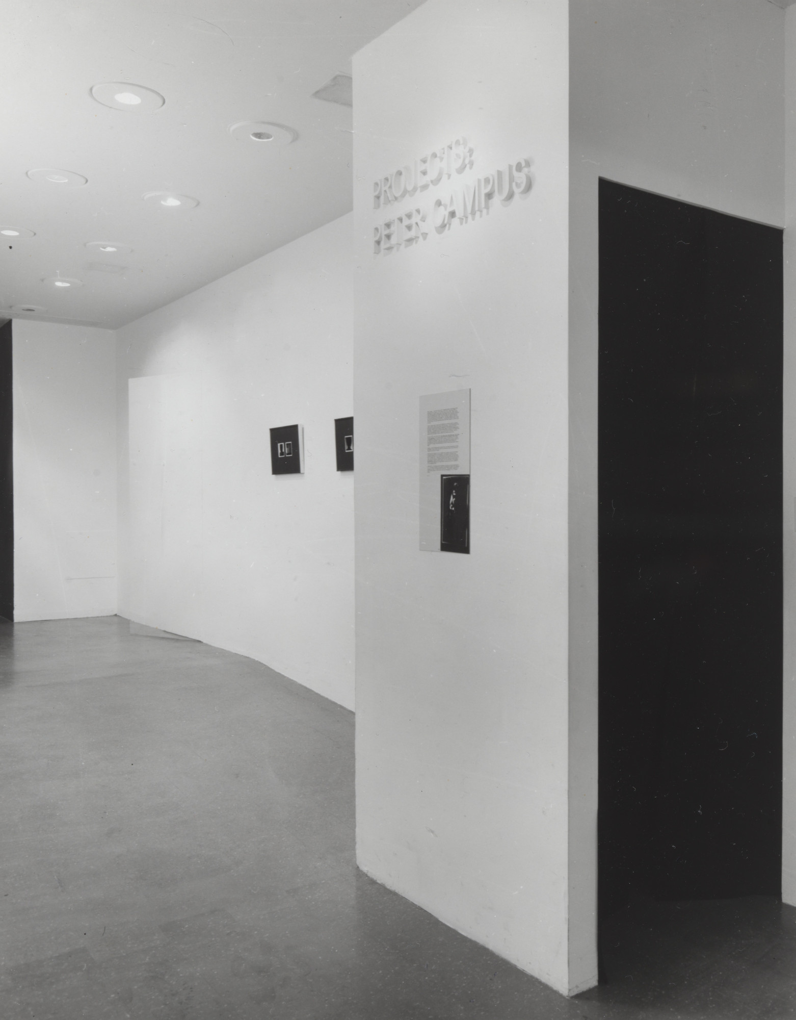 "Installation view of the exhibition, ""Projects: Peter Campus"" December 10, 1976–January 18, 1977. The Museum of Modern Art Exhibition Records, 1159.4. The Museum of Modern Art Archives, New York. IN1159.1. Photograph by Katherine Keller."