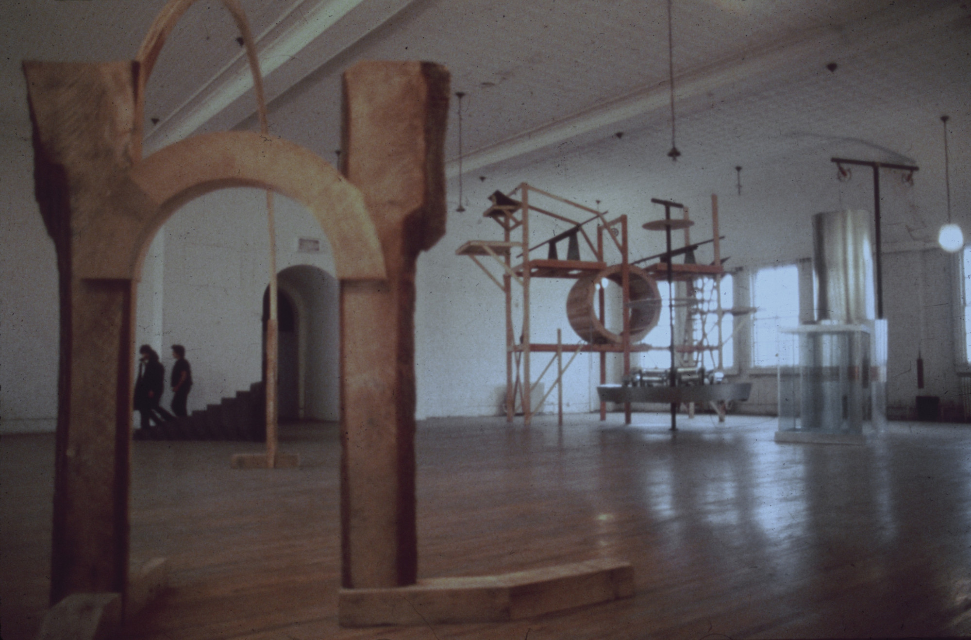 "Installation view of the P.S. 1 exhibition ""Special Projects (Winter 1980)"" showing works by Adams, Aycock, and Saganic February 17–April 6, 1980. MoMA PS1 Archives, II.A.587. The Museum of Modern Art Archives, New York. INPS1.223.1"