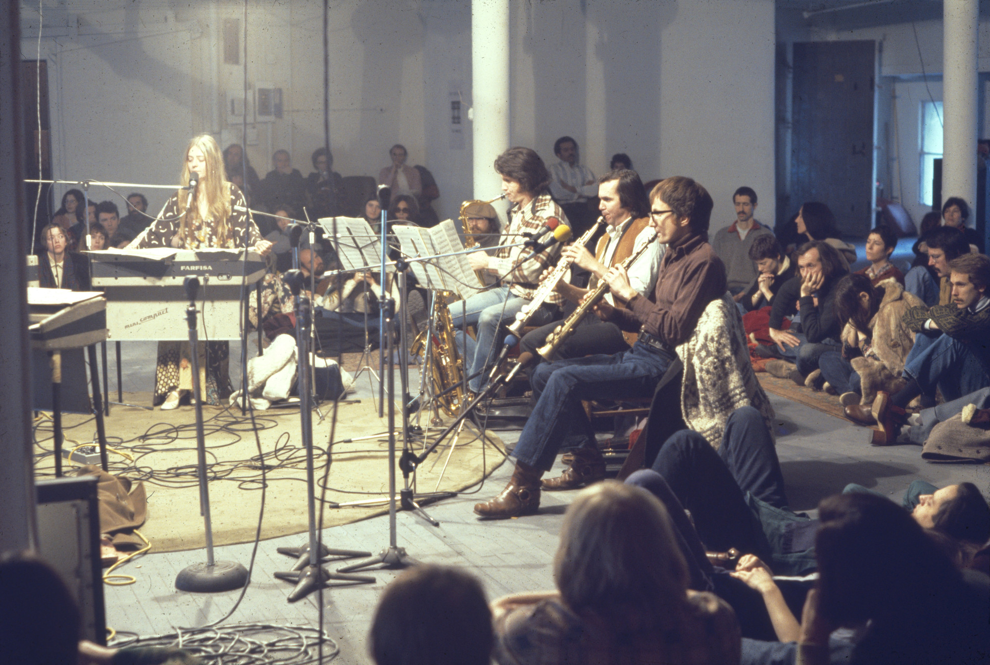 "View of the performance ""Philip Glass Ensemble: 'Music in Twelve Parts'"" at the Idea Warehouse February 2, 1975–February 23, 1975. MoMA PS1 Archives, II.A.2. The Museum of Modern Archives, New York. INPS1.24.1"