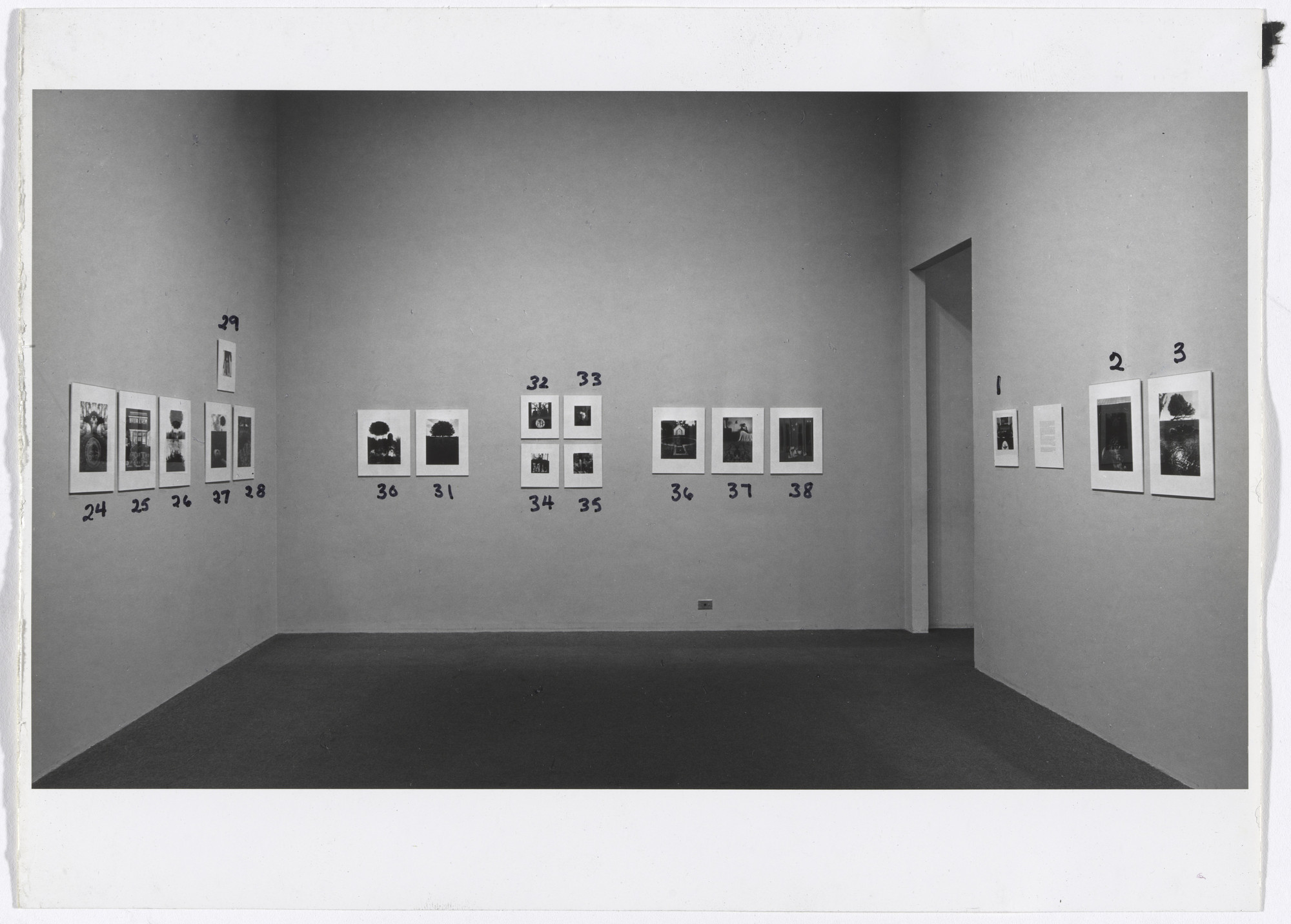 "Installation view of the exhibition ""Jerry N. Uelsmann"" February 15–April 16, 1967. Photography Study Center, The Museum of Modern Art, New York. IN820.1. Photograph by R. Petersen, Jerry Uelsmann."