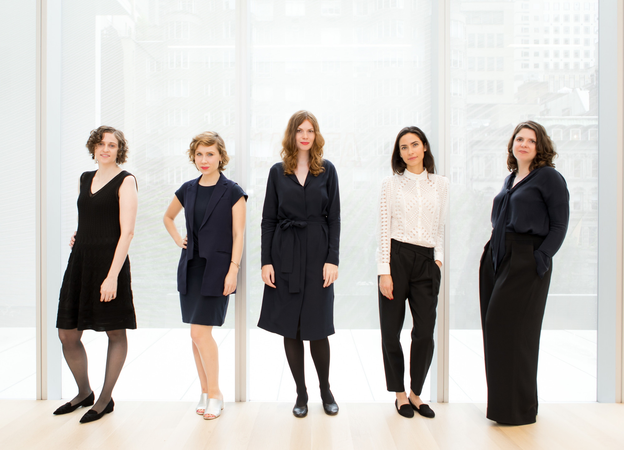 2018–19 MRC Fellows, from left: Charlotte Healy, Kaegan Sparks, Barbora Bartunkova, Michaëla de Lacaze, and Erica DiBenedetto. Photo: Marcin J. Muchalski, Diamond Shot Studio