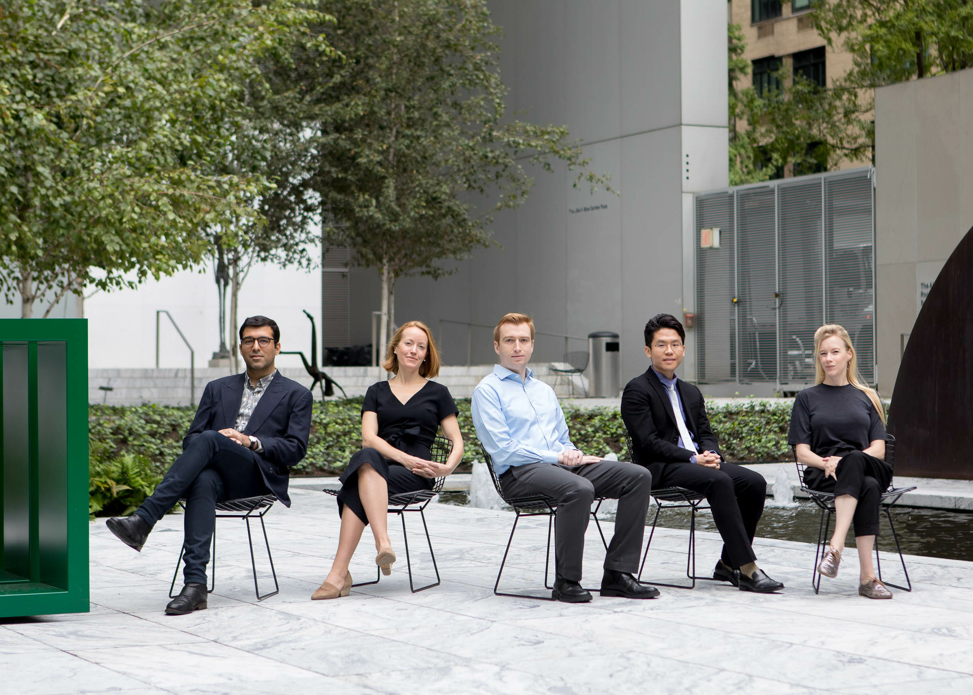 2019–20 MRC Fellows, from left: Rattanamol Singh Johal, Annemarie Iker, Andrew Vielkind, Da Hyung Jeong, and Dana Liljegren. Photo: Marcin J. Muchalski, Diamond Shot Studio