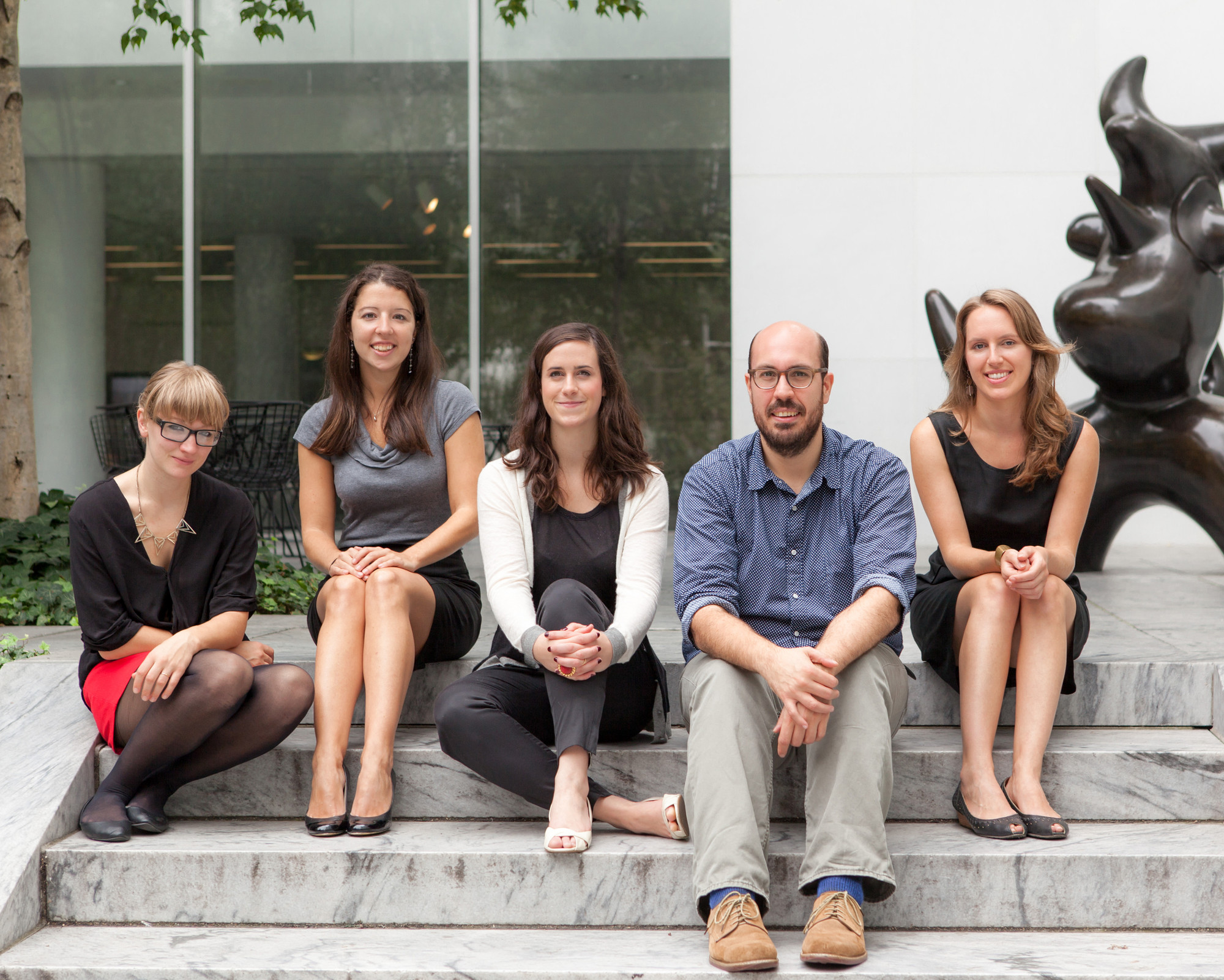 2013-14 MRC Fellows, from left: Kirsty Dootson, Rachel Kaplan, Stephanie O'Rourke, Andrew Cappetta, and Frances Jacobus-Parker. Photo: Marcin J. Muchalski, Diamond Shot Studio