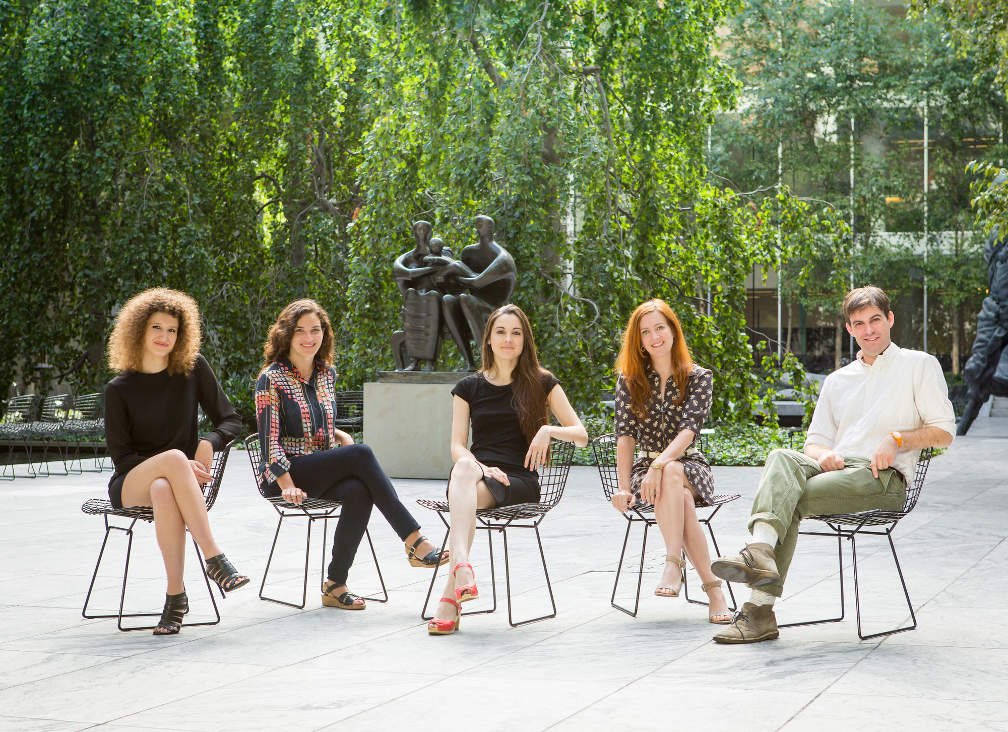 2014-15 MRC Fellows, from left: Rachel Silveri, Kristin Poor, Lauren Rosati, Rebecca Lowery, and Sam Sackeroff. Photo: Marcin J. Muchalski, Diamond Shot Studio