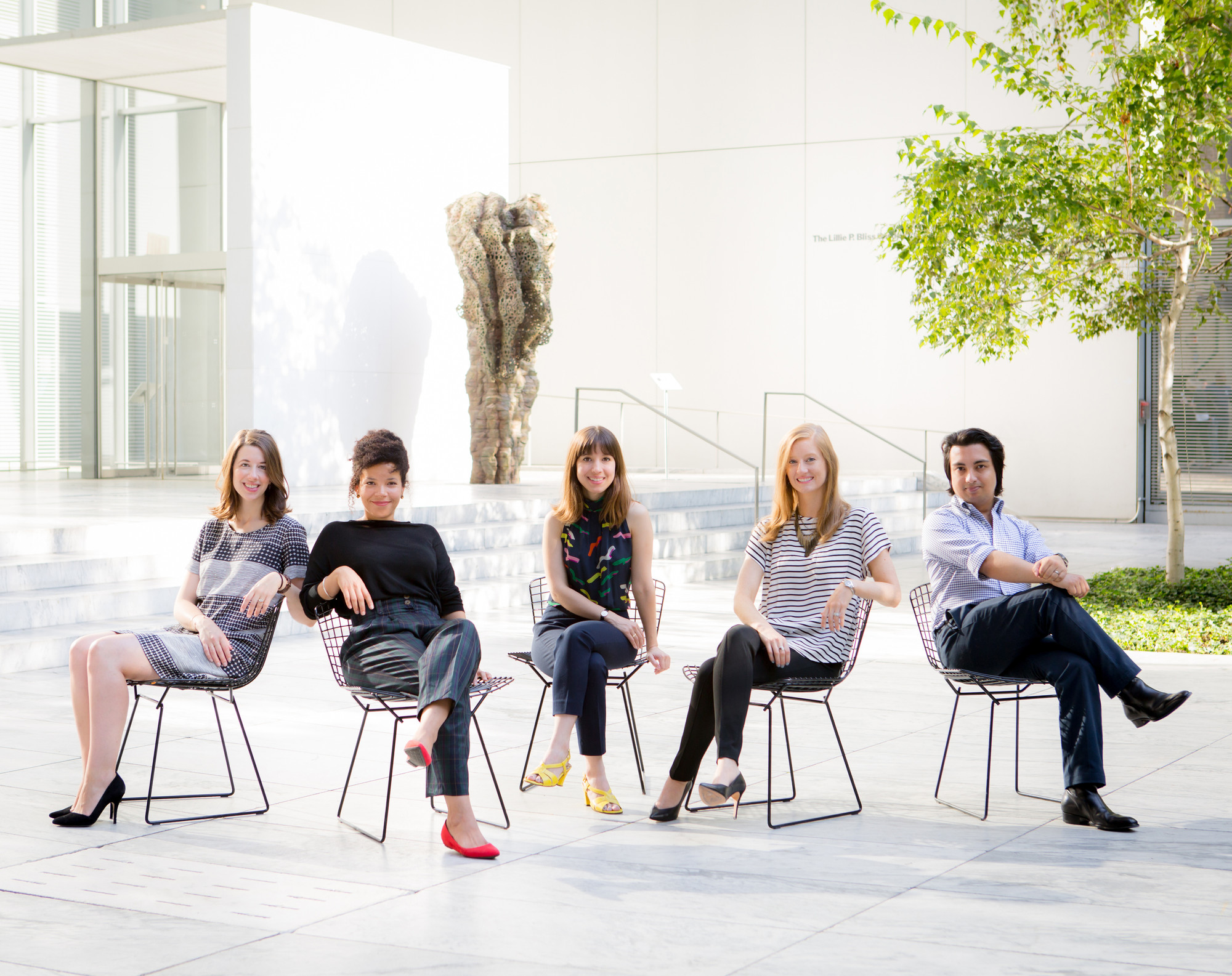 2015-16 MRC Fellows, from left: Natalie Dupêcher, Nomaduma Masilela, Antonia Pocock, Elizabeth Hawley, and Swagato Chakravorty. Photo: Marcin J. Muchalski, Diamond Shot Studio