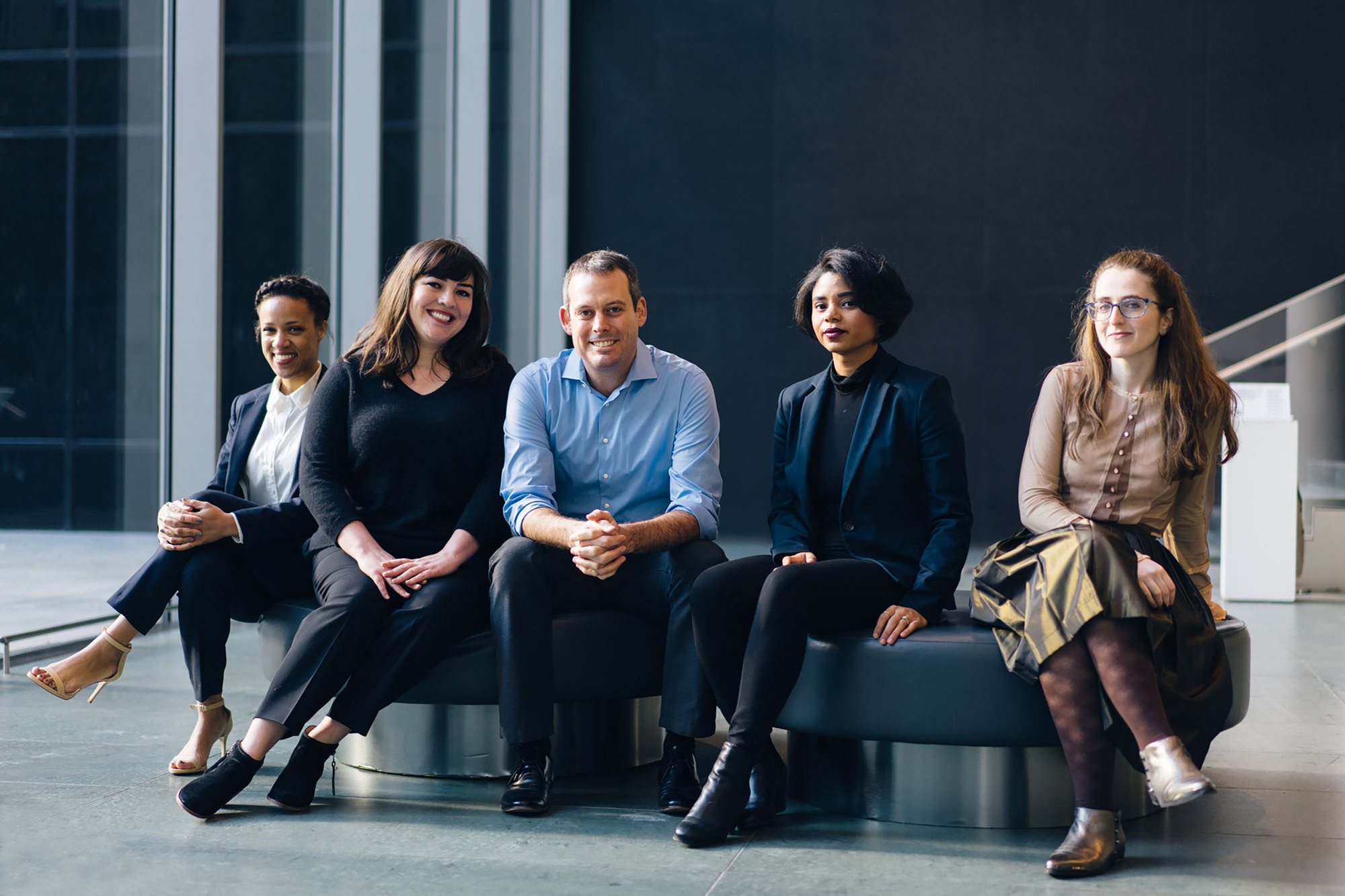 2016–17 MRC Fellows, from left: Ashley James, Elizabeth Gollnick, Matthew Worsnick, Jessica Bell Brown, and Abigail Lapin Dardashti. Photo: Amanda Kirkpatrick