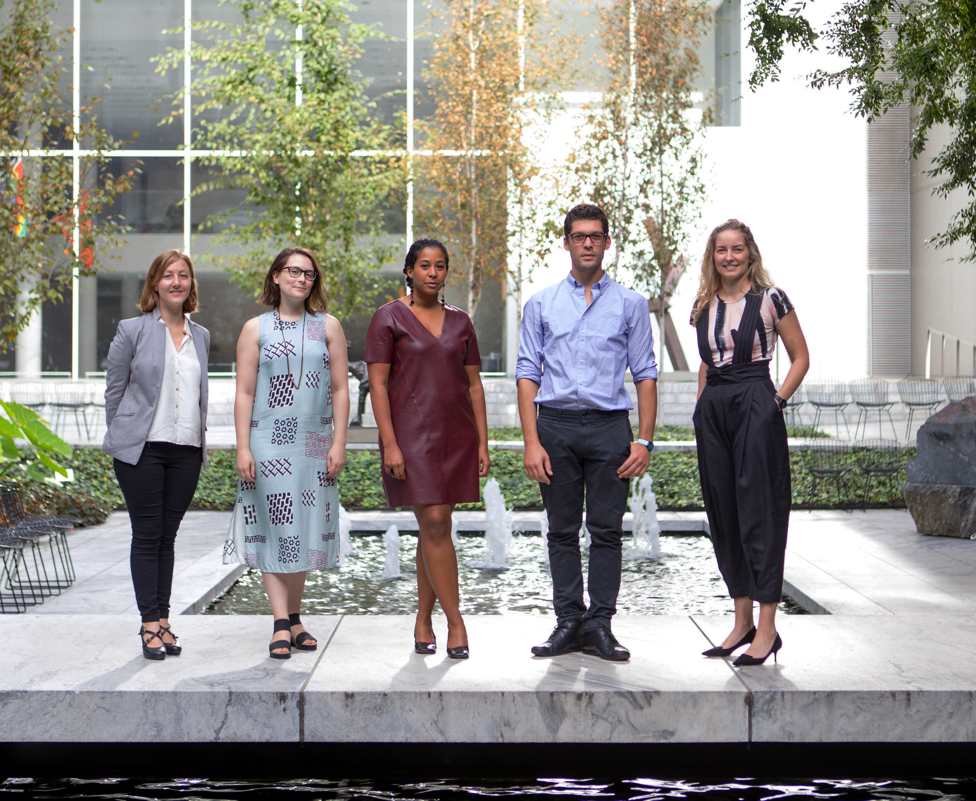 2017-18 MRC Fellows, from left: Julia Bozer, Liz Donato, Vivian Crockett, Theodossis Issaias, and Erica Cooke. Photo: Marcin J. Muchalski, Diamond Shot Studio